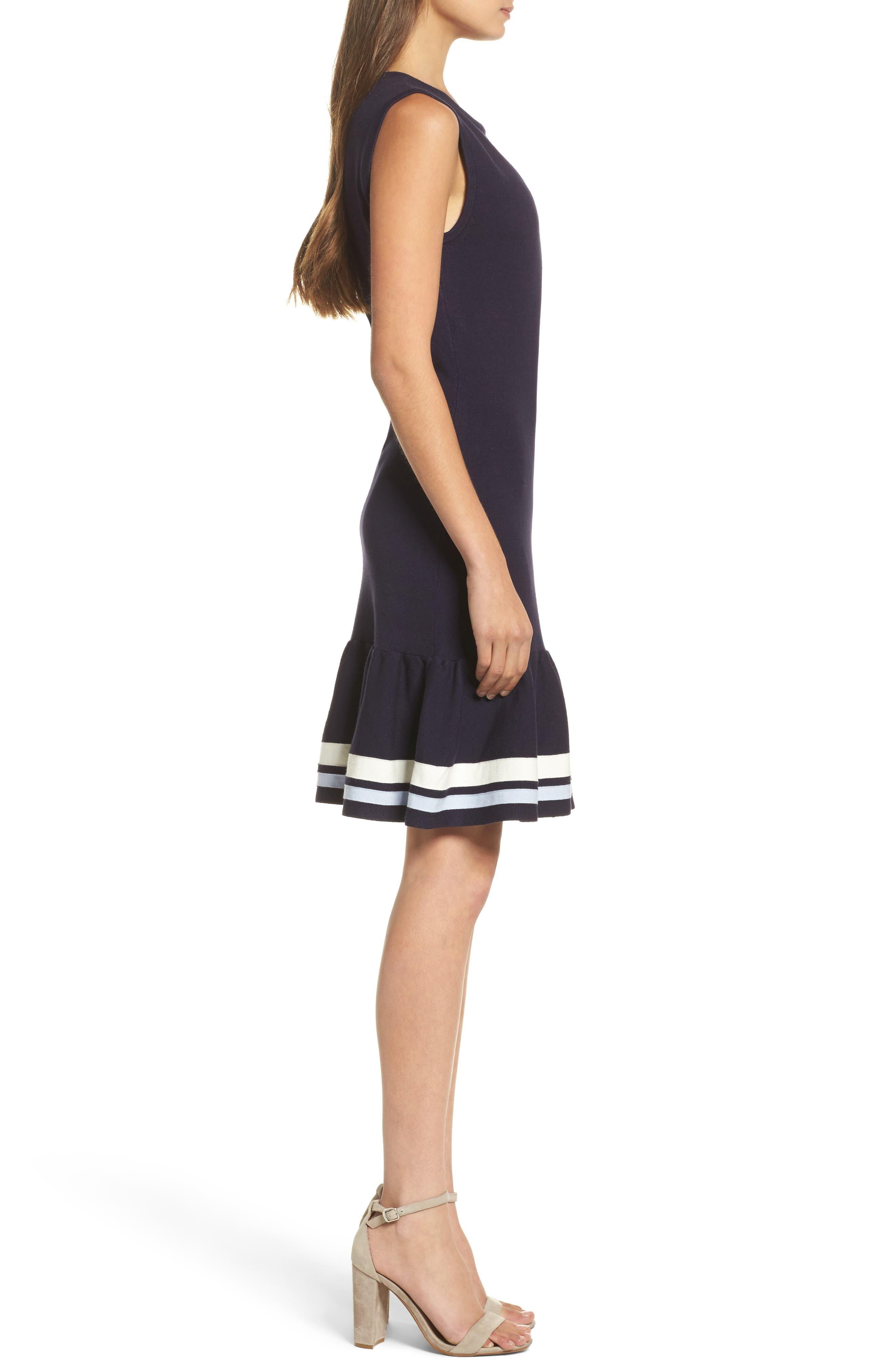Peplum Hem Sweater Dress,                             Alternate thumbnail 3, color,                             Navy Sapphire