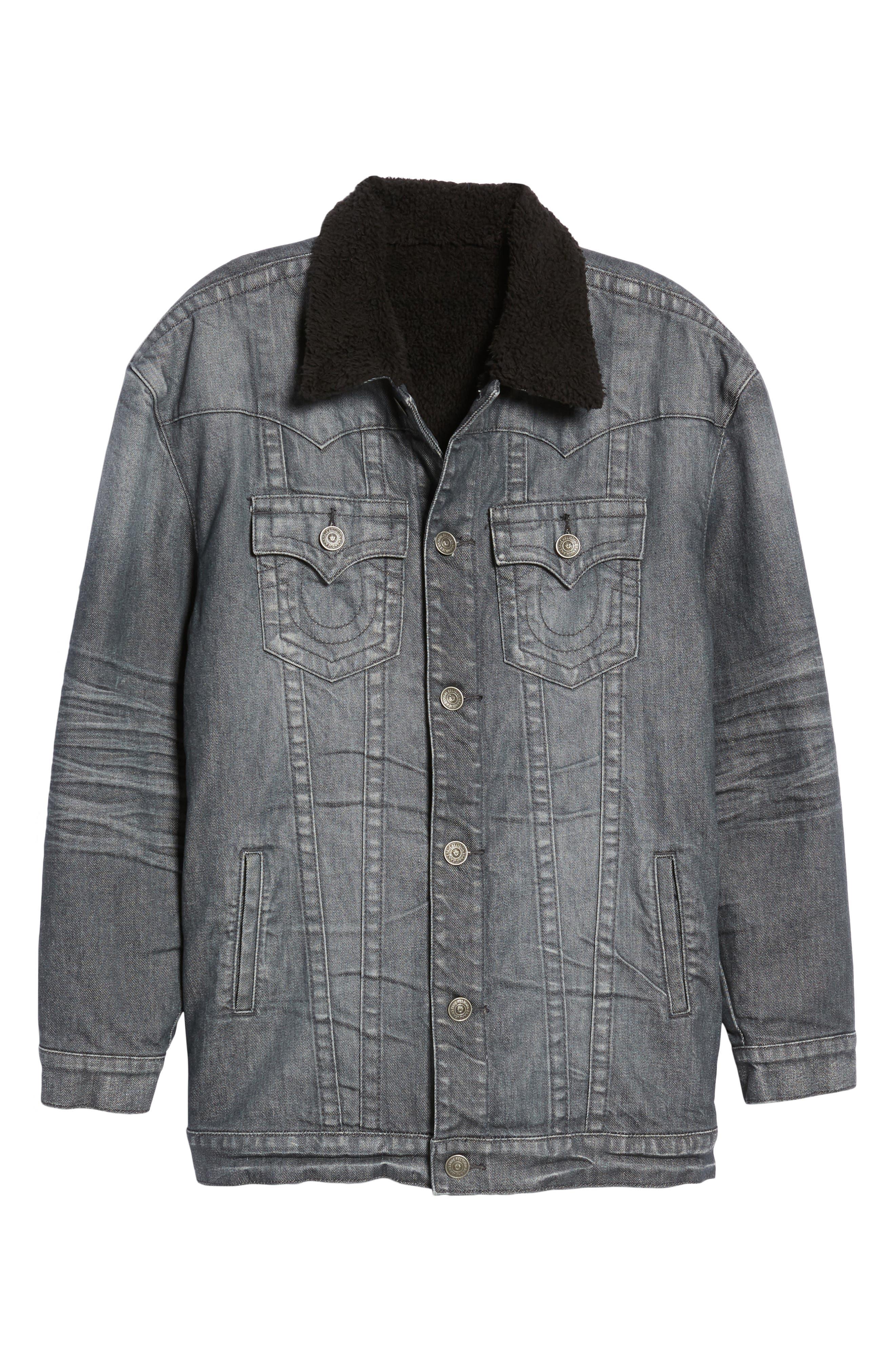 Faux Shearling Trim Denim Jacket,                             Alternate thumbnail 6, color,                             Gravel