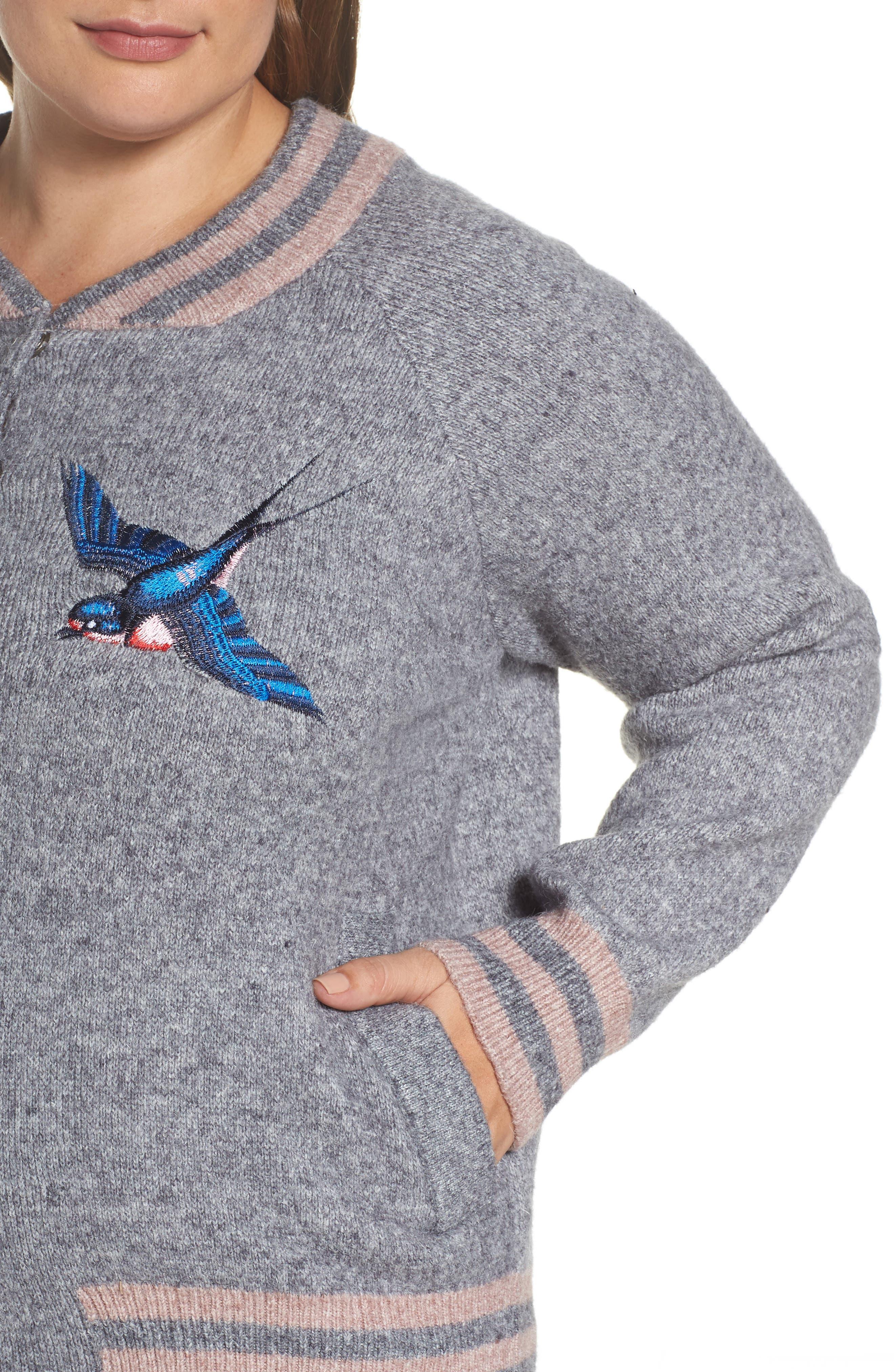 Zanja Embroidered Knit Bomber Jacket,                             Alternate thumbnail 4, color,                             Medium Grey Melange