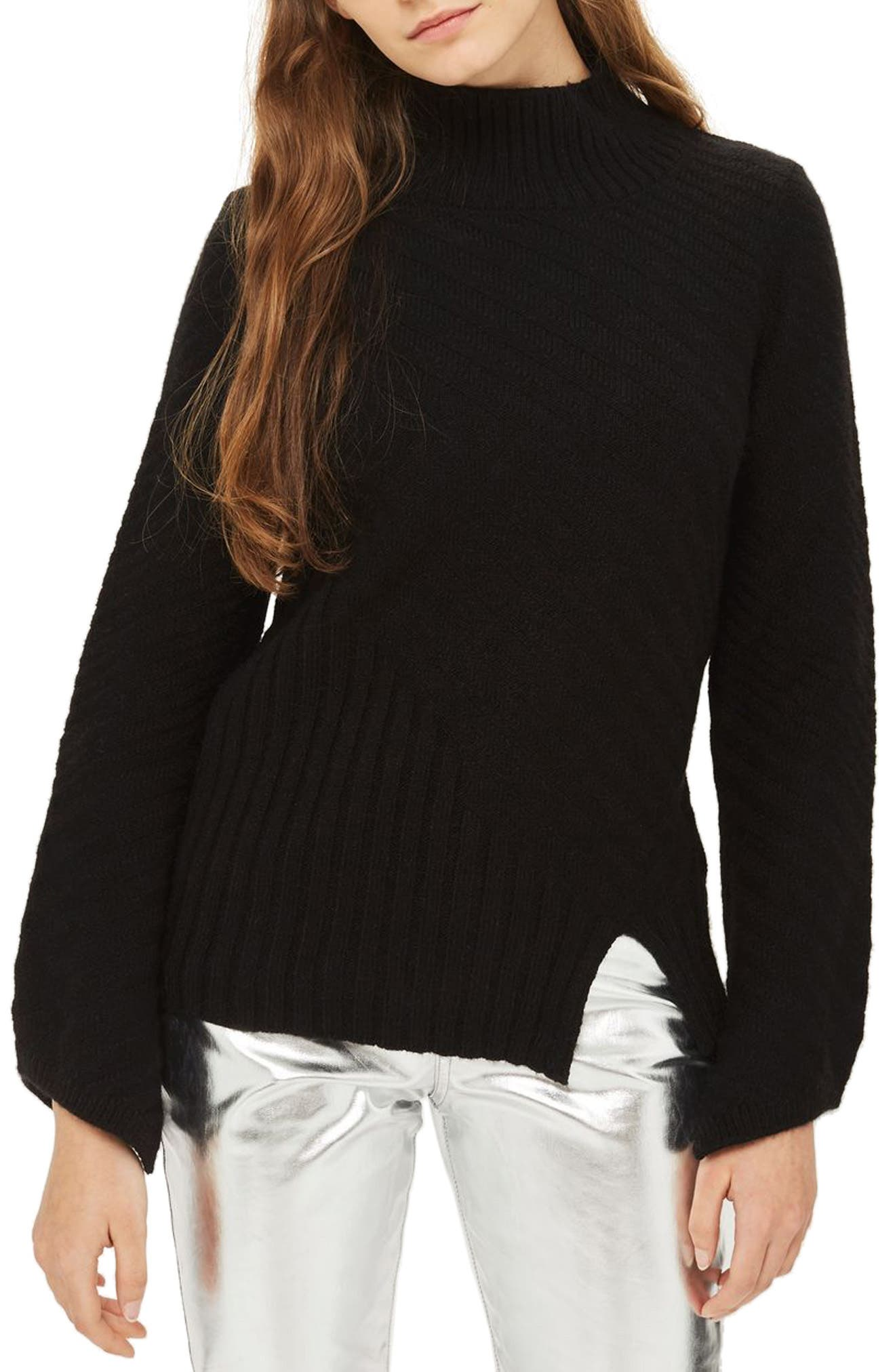 Asymmetrical Ribbed Funnel Neck Sweater,                         Main,                         color, Black