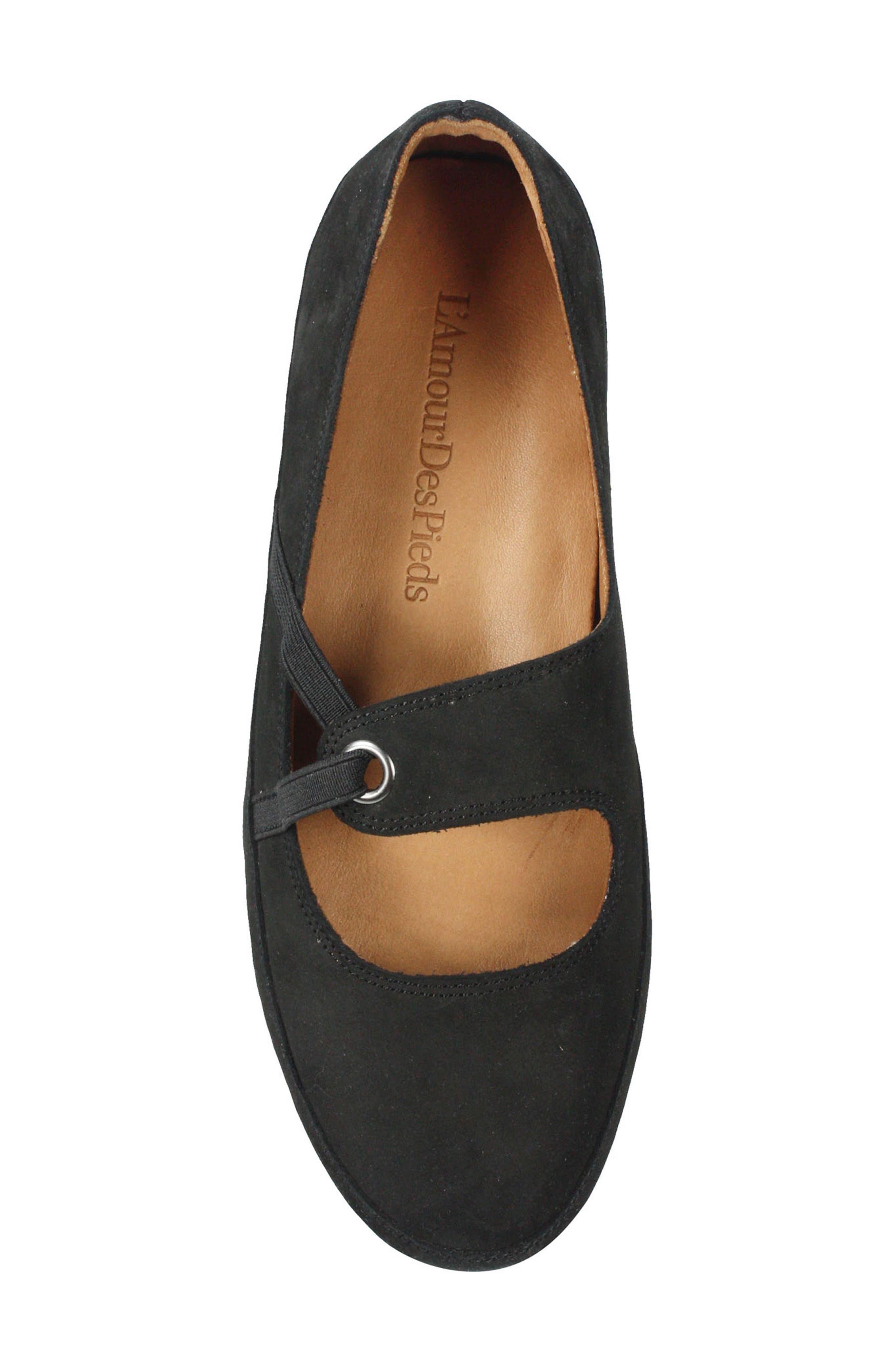 Denisse Mary Jane Flat,                             Alternate thumbnail 5, color,                             Black Nubuck Leather