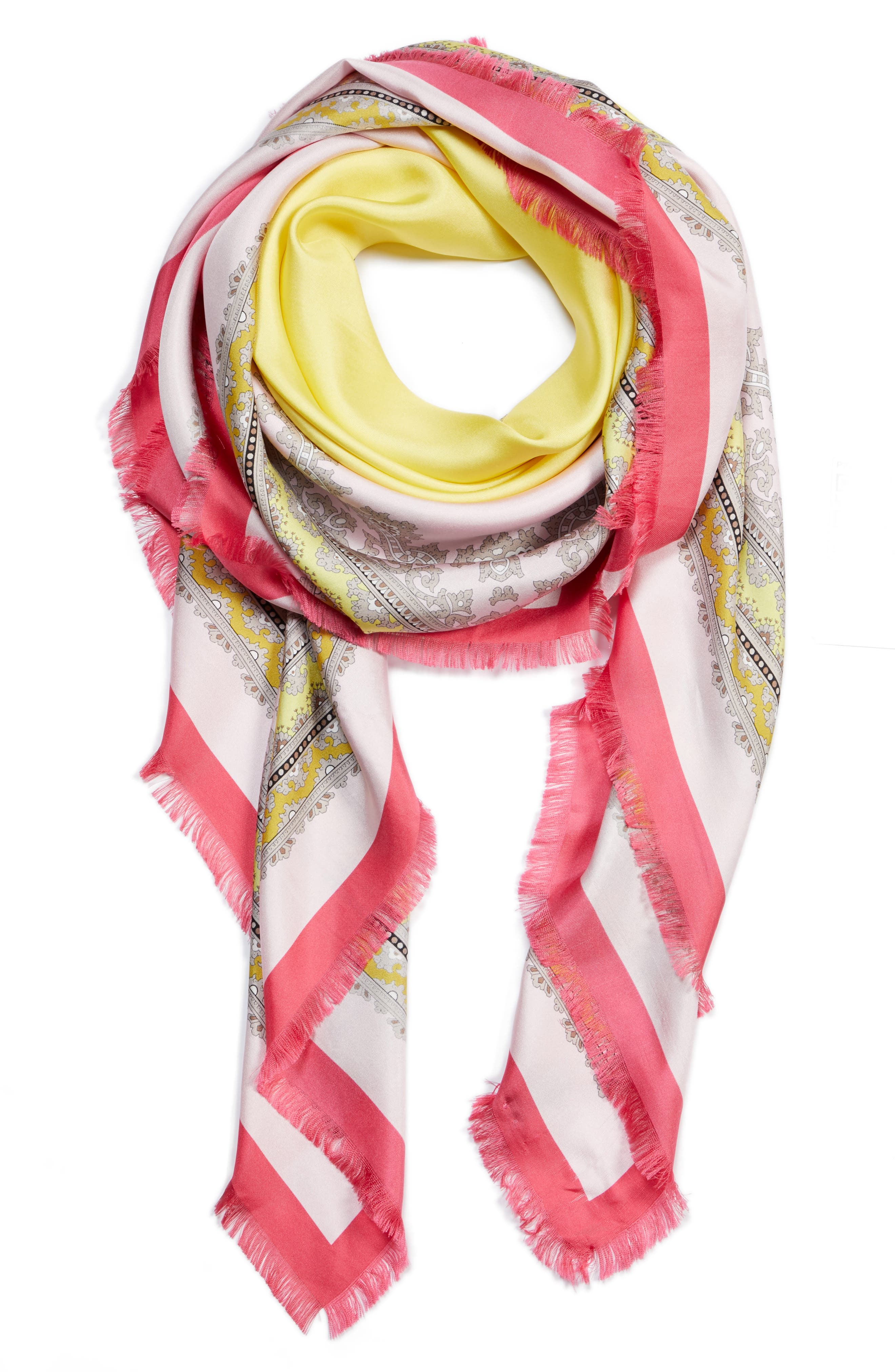 Ginepro Silk Scarf,                             Alternate thumbnail 3, color,                             Pink