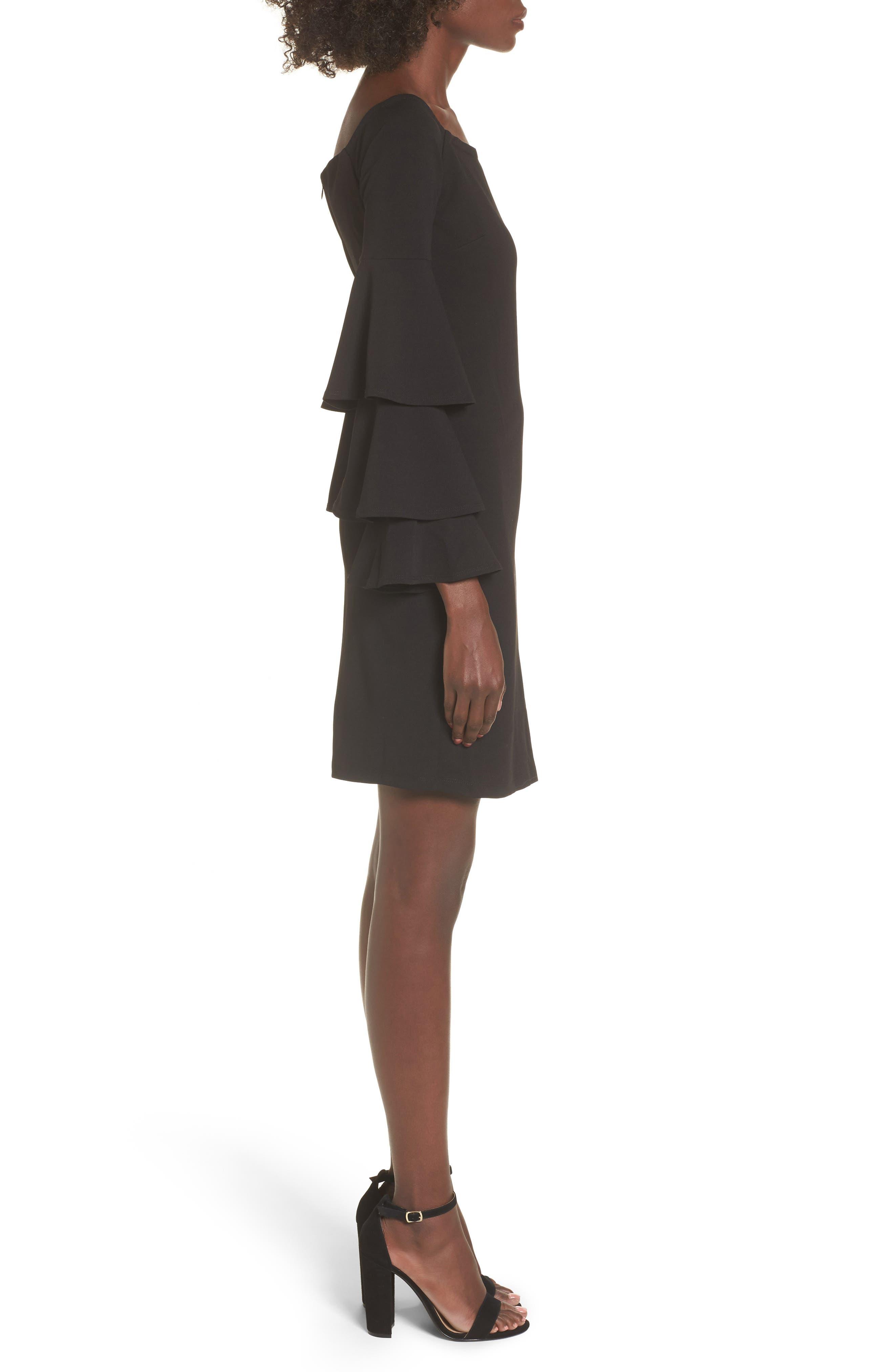 Ruffle Sleeve Off the Shoulder Dress,                             Alternate thumbnail 3, color,                             Black