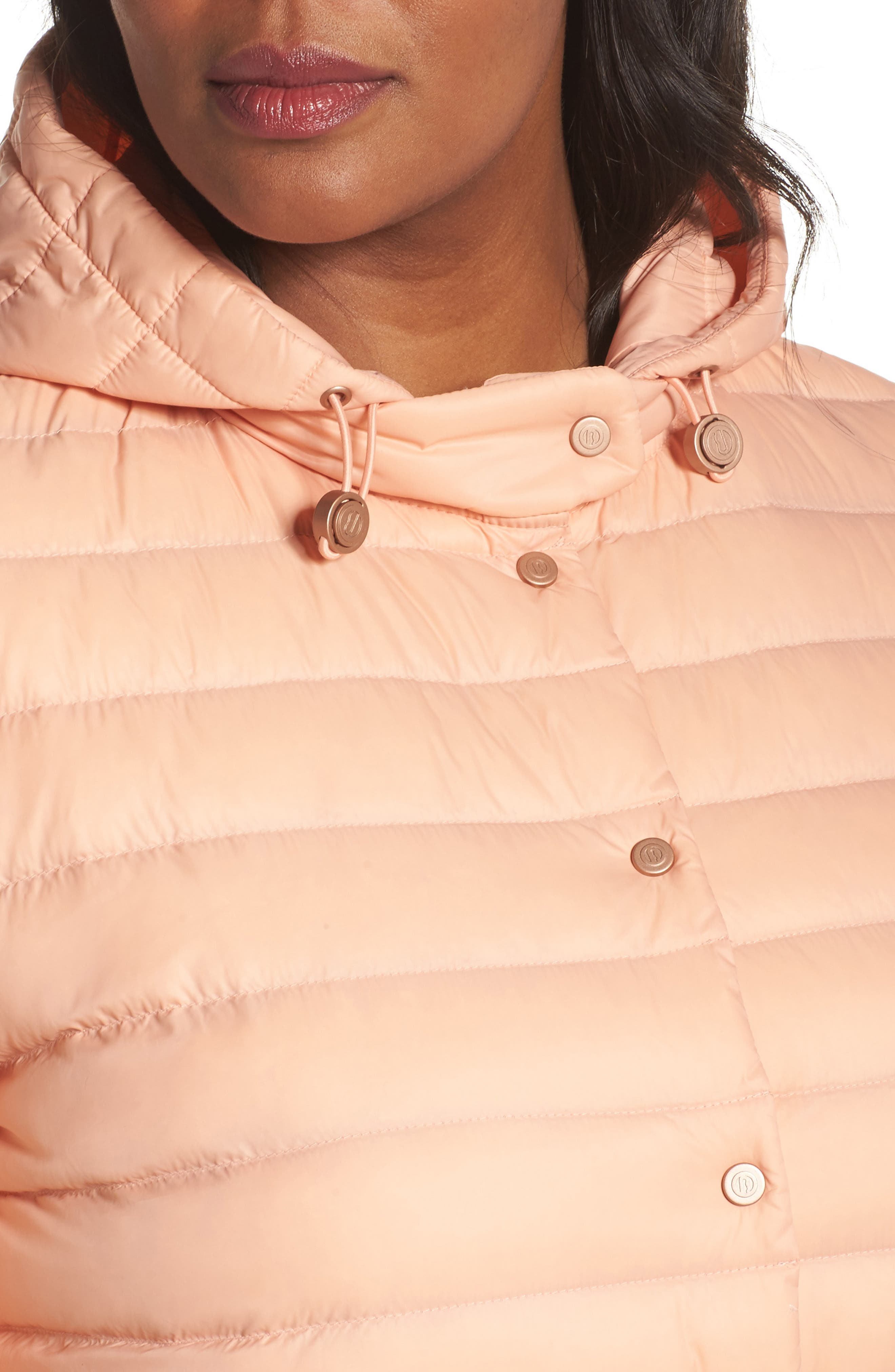 Water Resistant Insulated Hooded Bomber Jacket,                             Alternate thumbnail 4, color,                             Peach