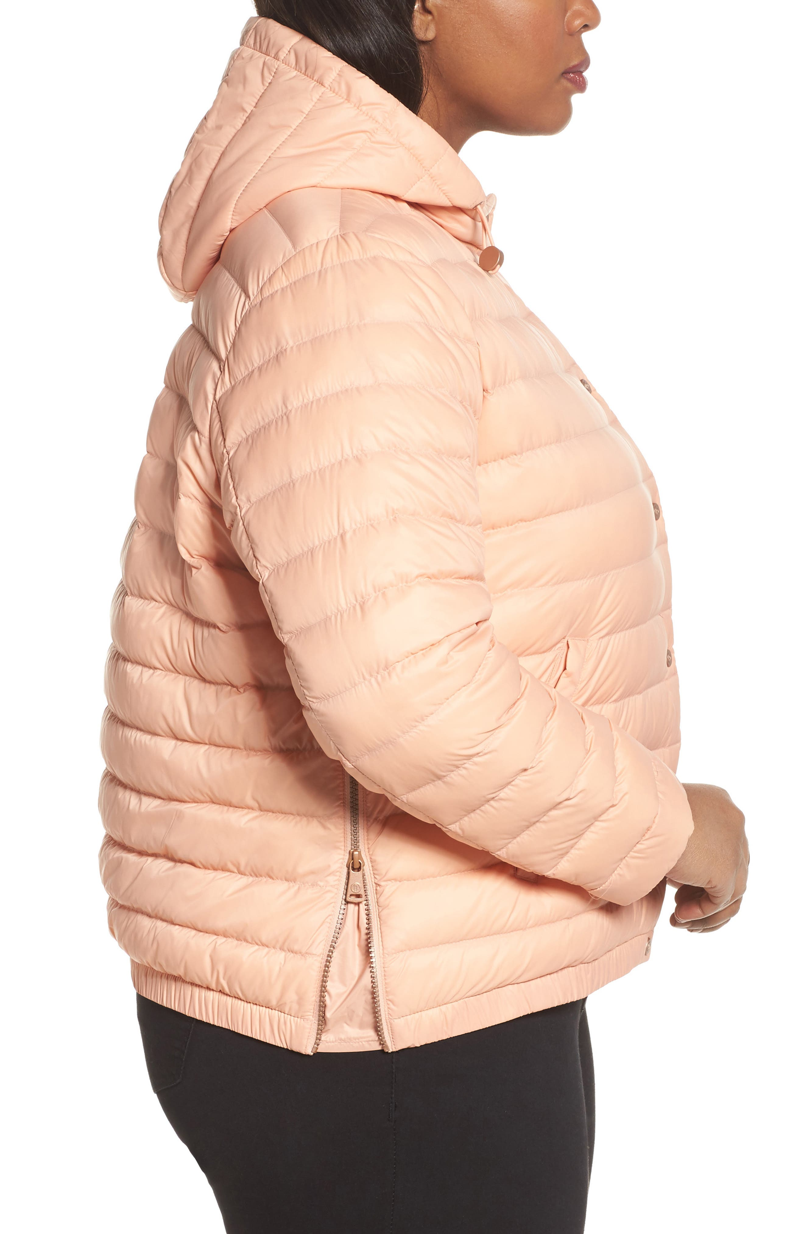 Water Resistant Insulated Hooded Bomber Jacket,                             Alternate thumbnail 3, color,                             Peach