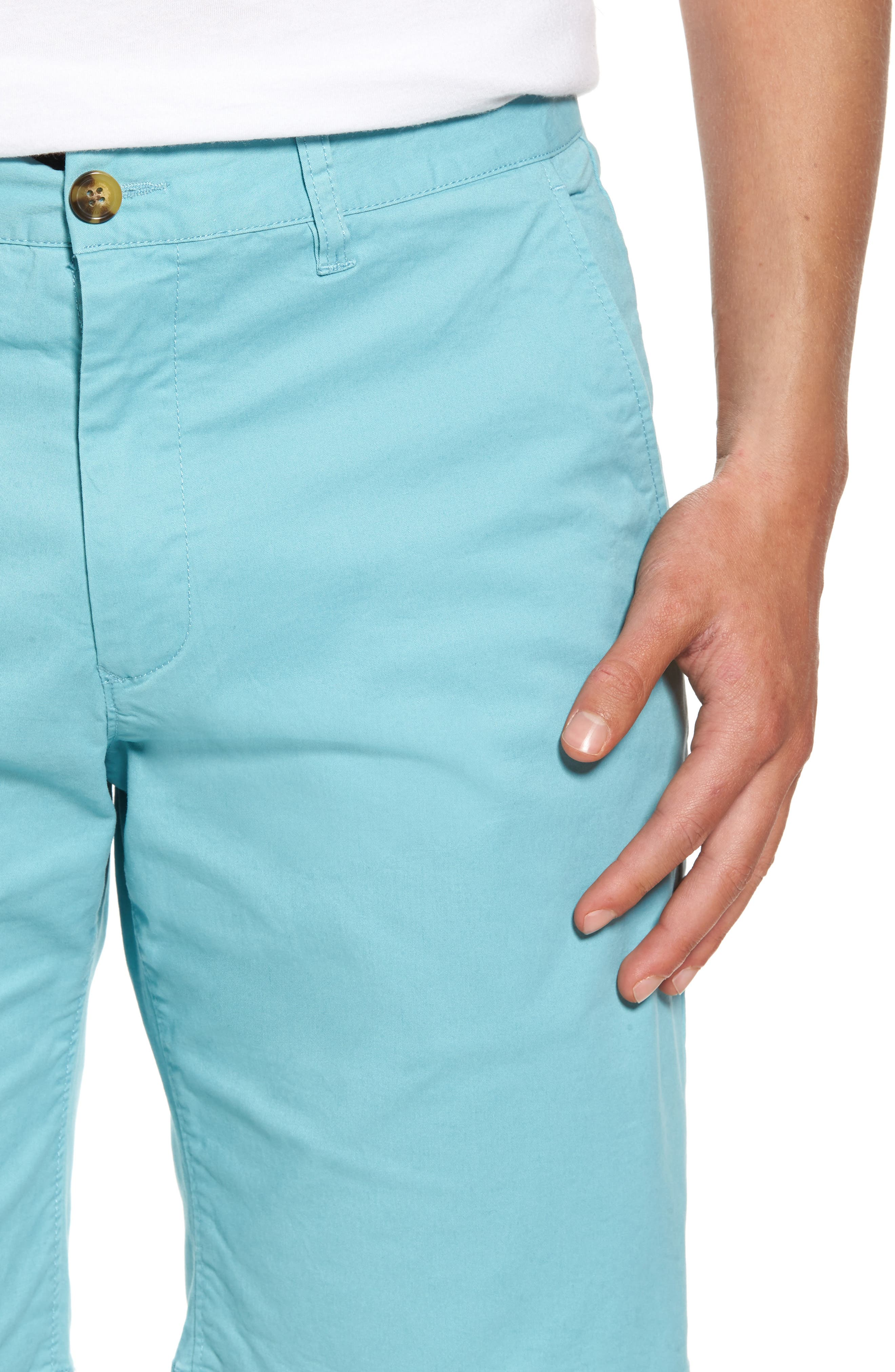 Slim Fit Brushed Twill Shorts,                             Alternate thumbnail 4, color,                             Dusty Blue