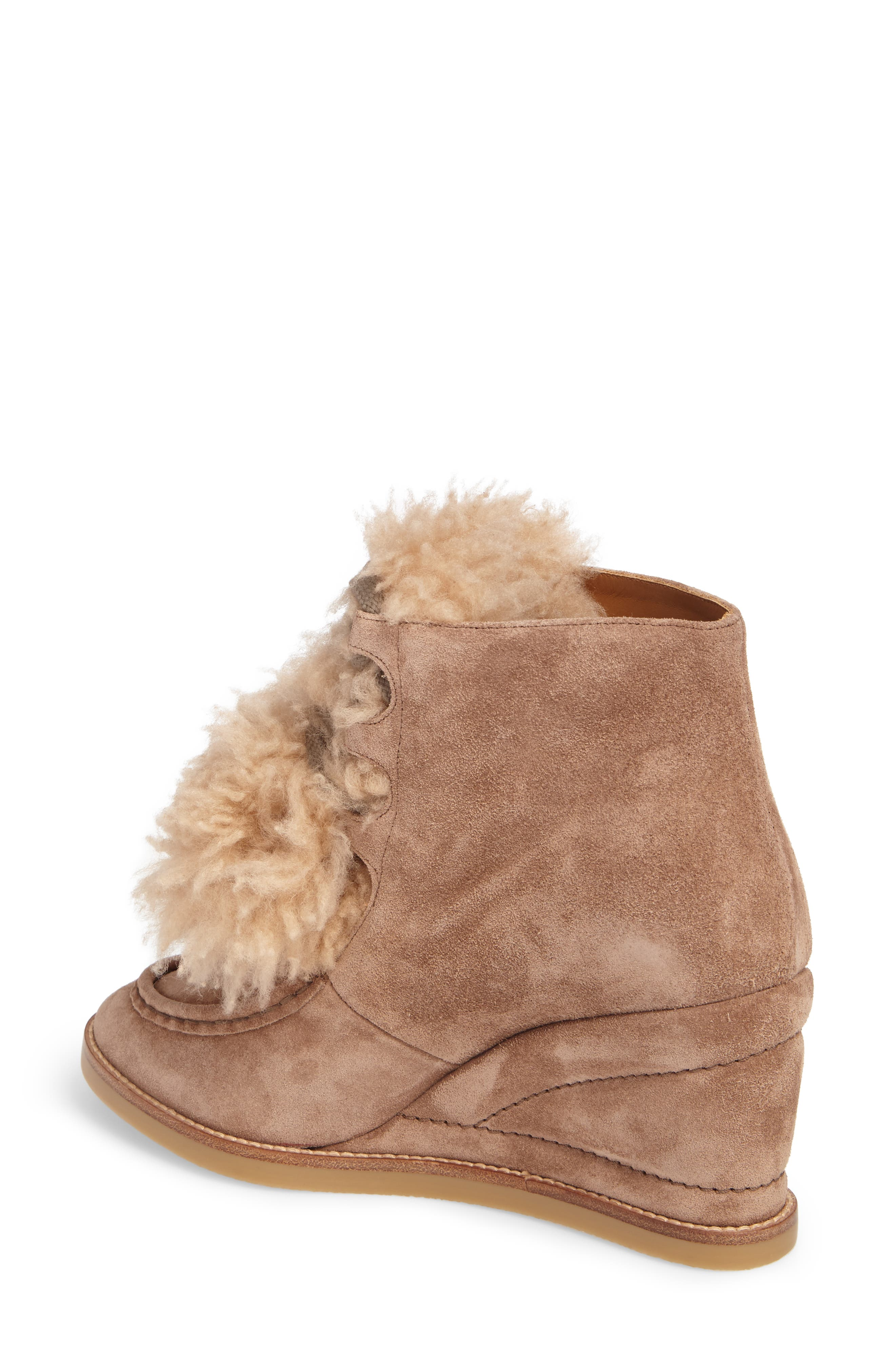 Peggy Genuine Shearling Wedge Bootie,                             Alternate thumbnail 2, color,                             Latte Brown Suede