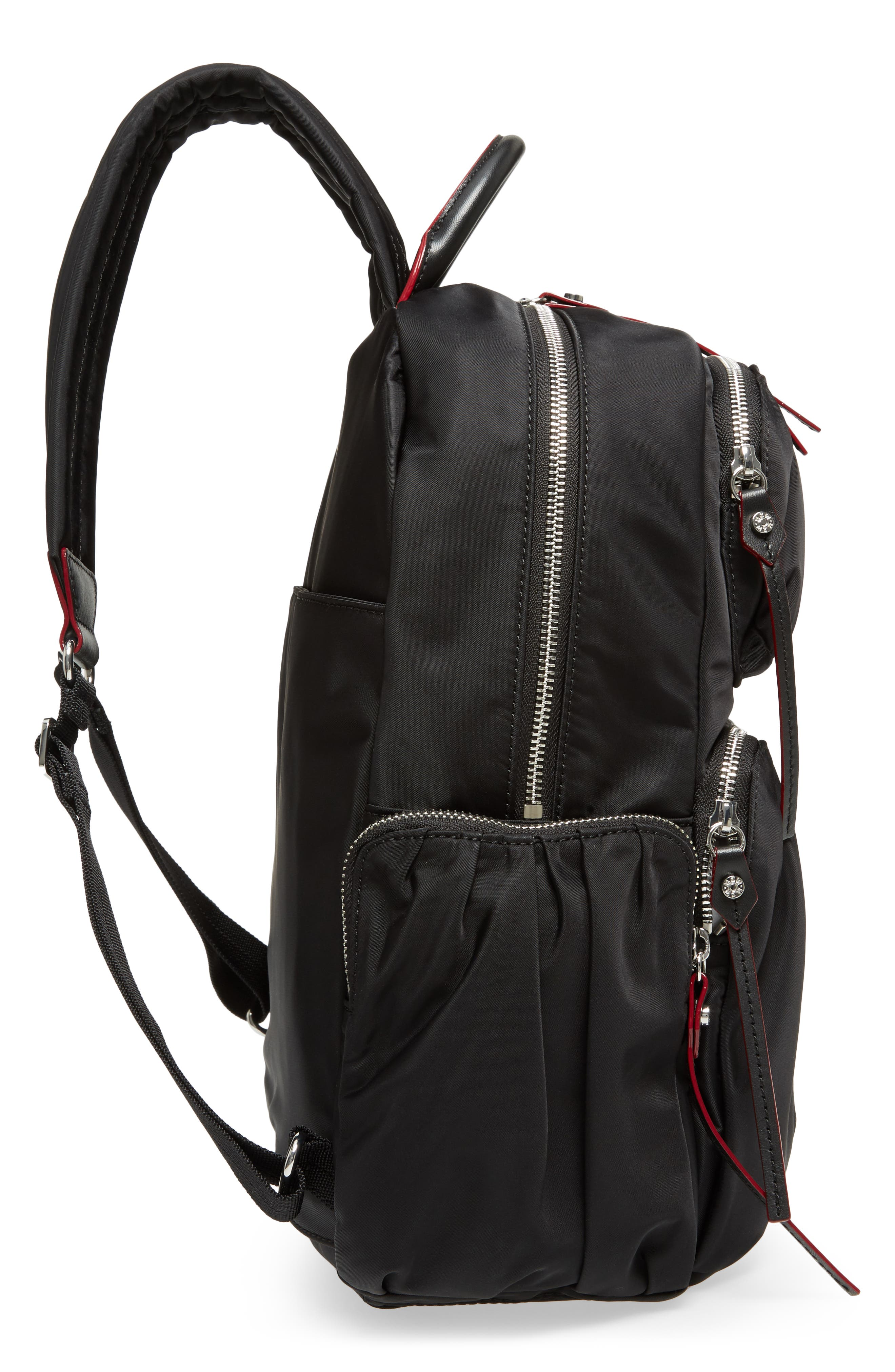 Madelyn Bedford Nylon Backpack,                             Alternate thumbnail 5, color,                             Black
