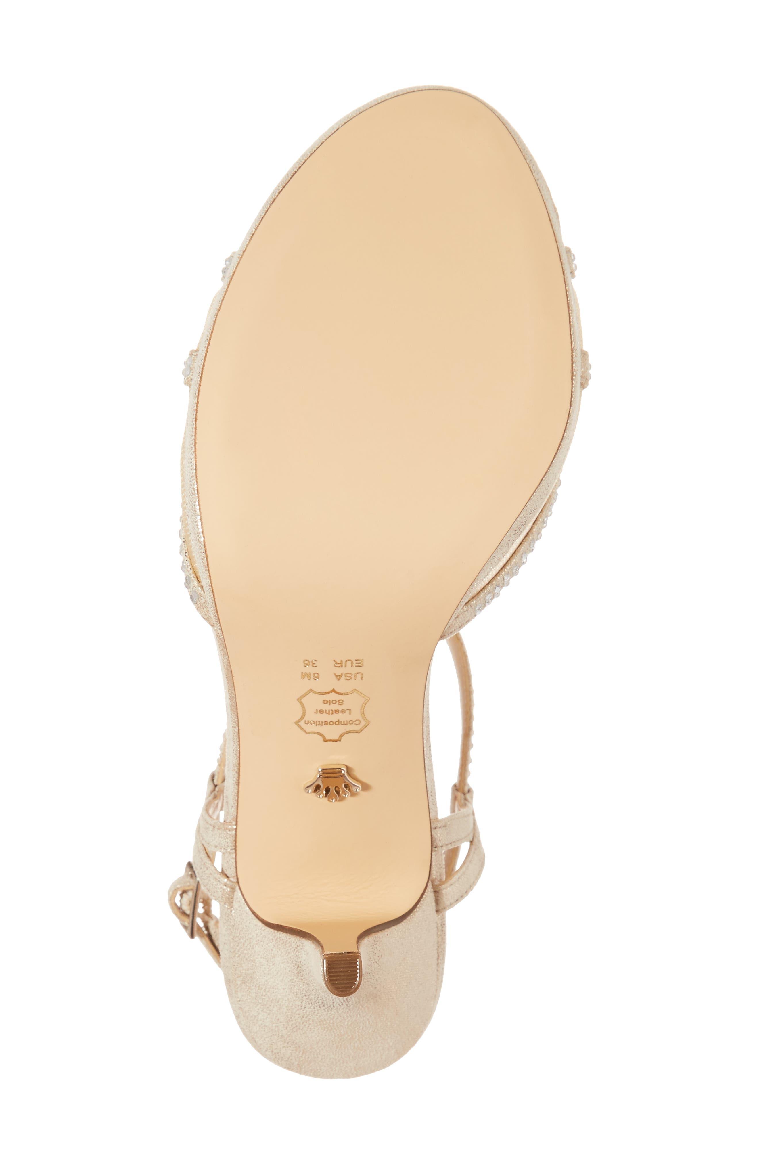 Blossom Crystal Embellished Sandal,                             Alternate thumbnail 6, color,                             Gold Fabric