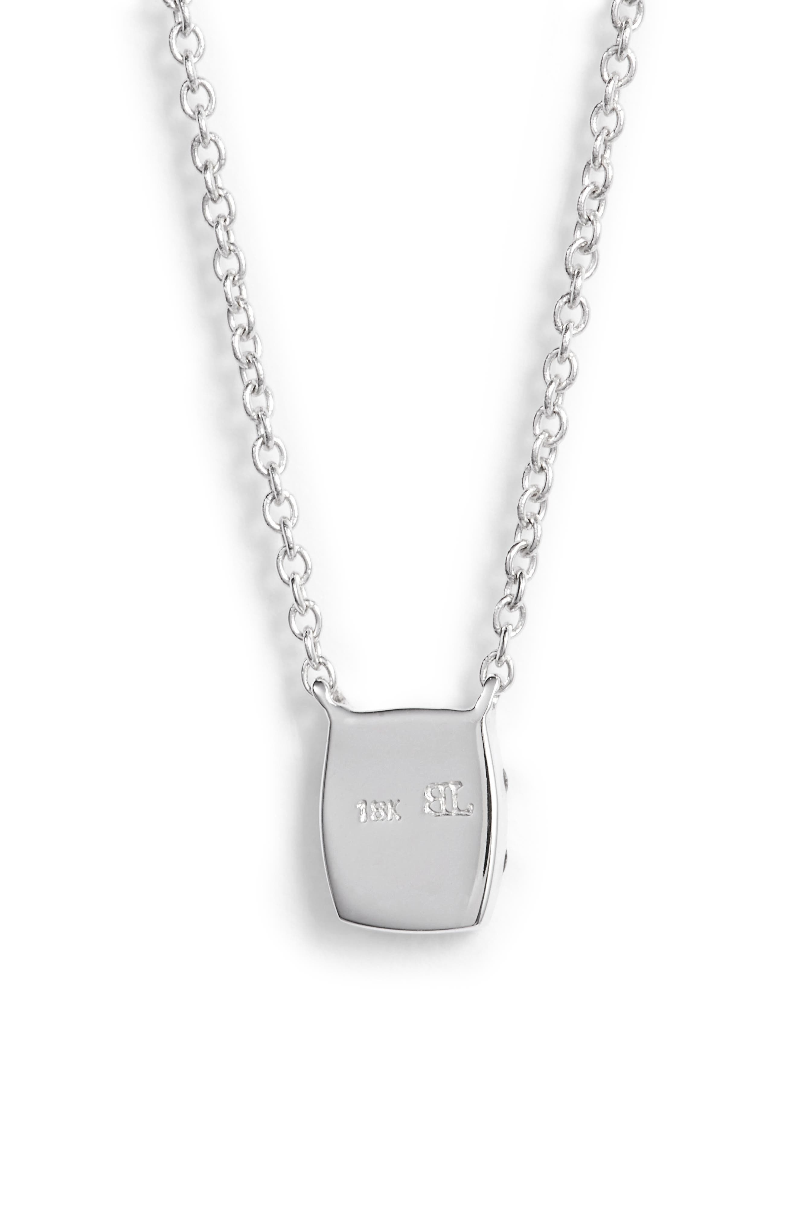 'Mika' Mini Rectangle Pavé Diamond Pendant Necklace,                             Alternate thumbnail 4, color,                             White Gold