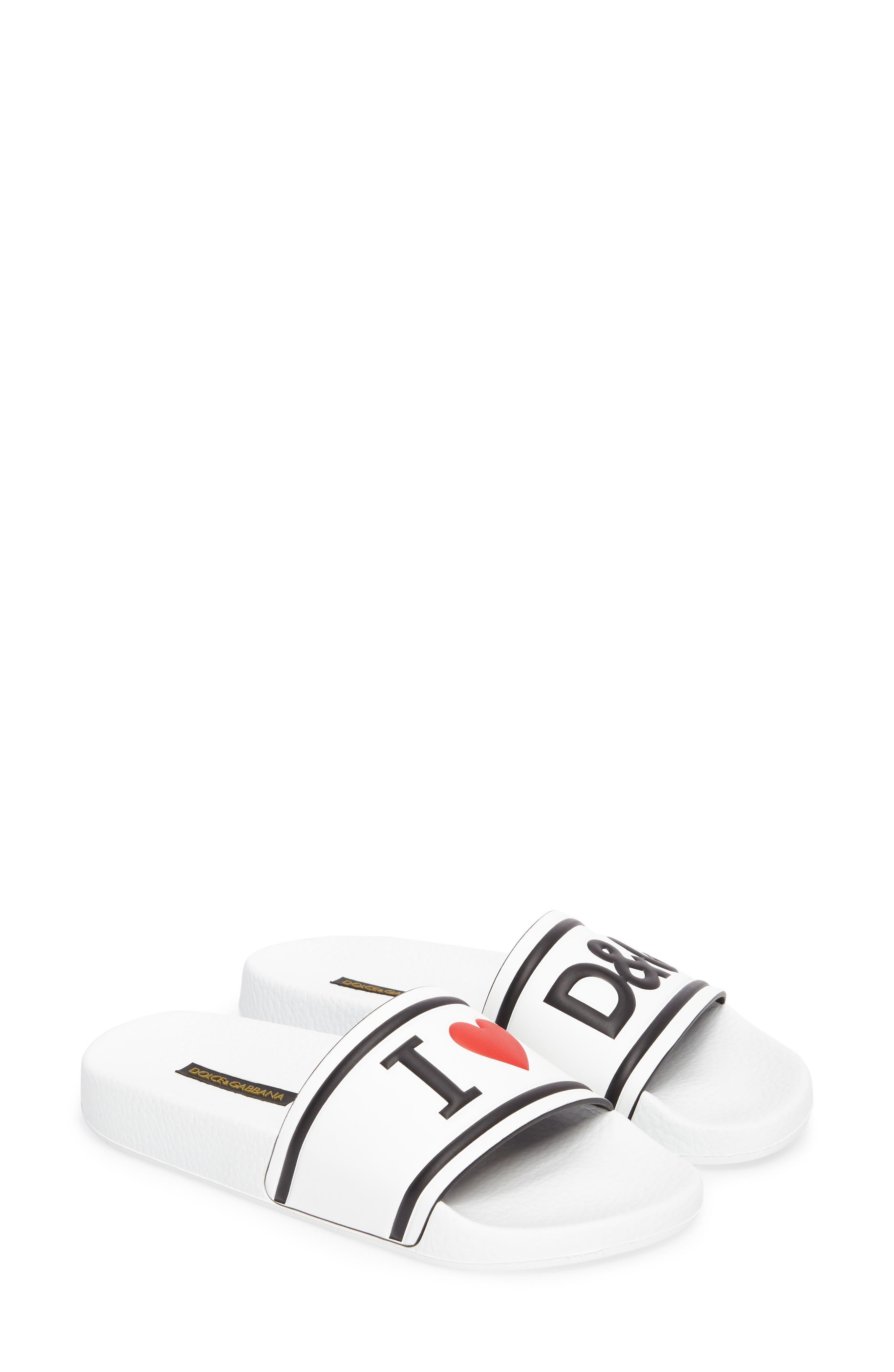 I Love DG Slide Sandal,                             Alternate thumbnail 2, color,                             White