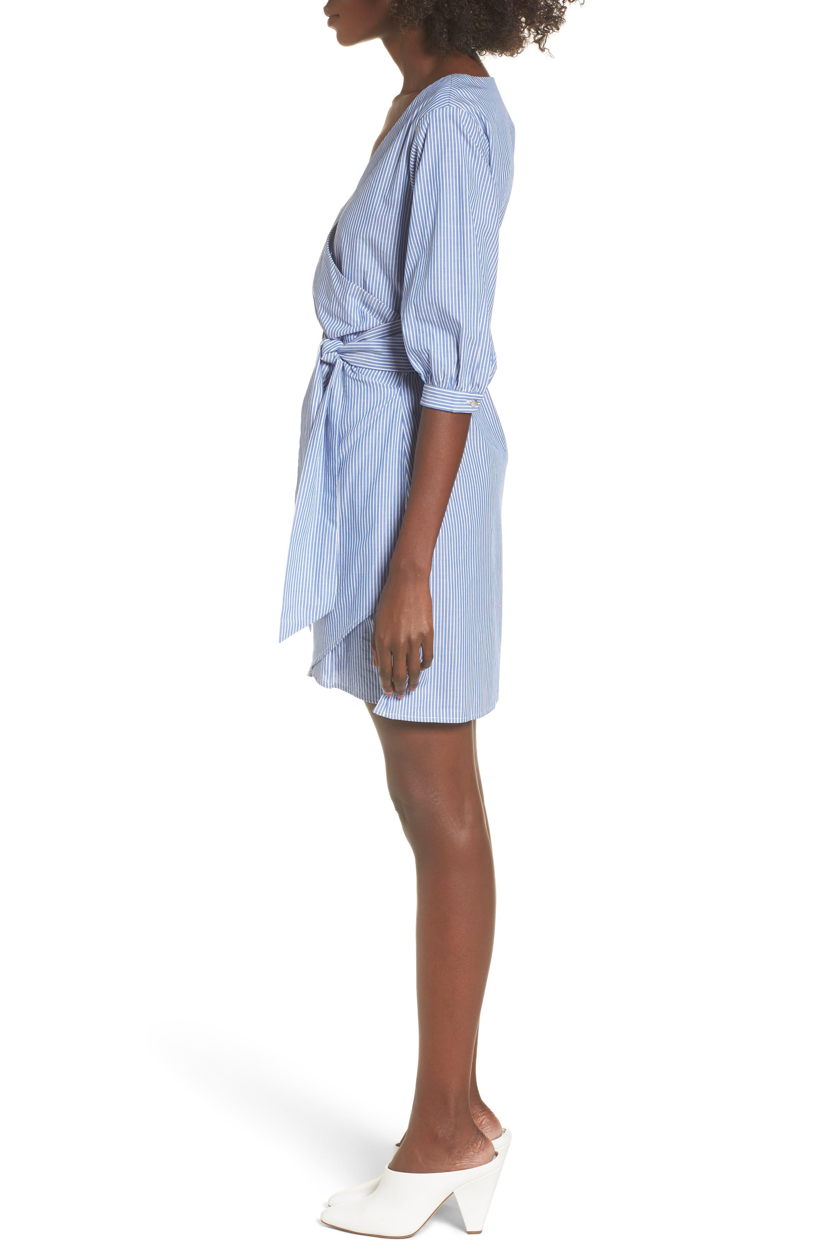Cotton Poplin Wrap Dress,                             Alternate thumbnail 3, color,                             Blue White Stripe