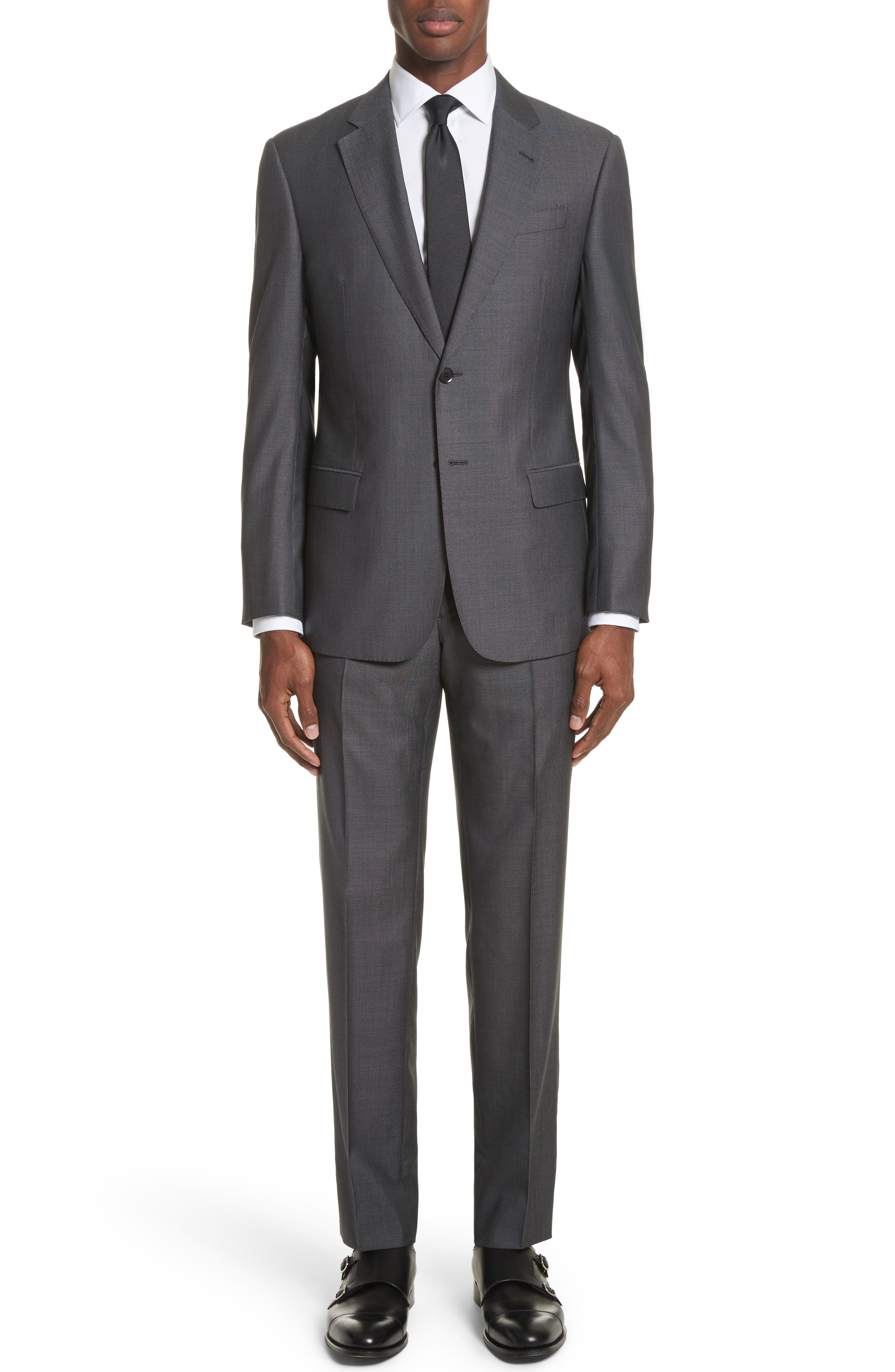G Line Trim Fit Solid Wool & Silk Suit,                             Main thumbnail 1, color,                             Grey