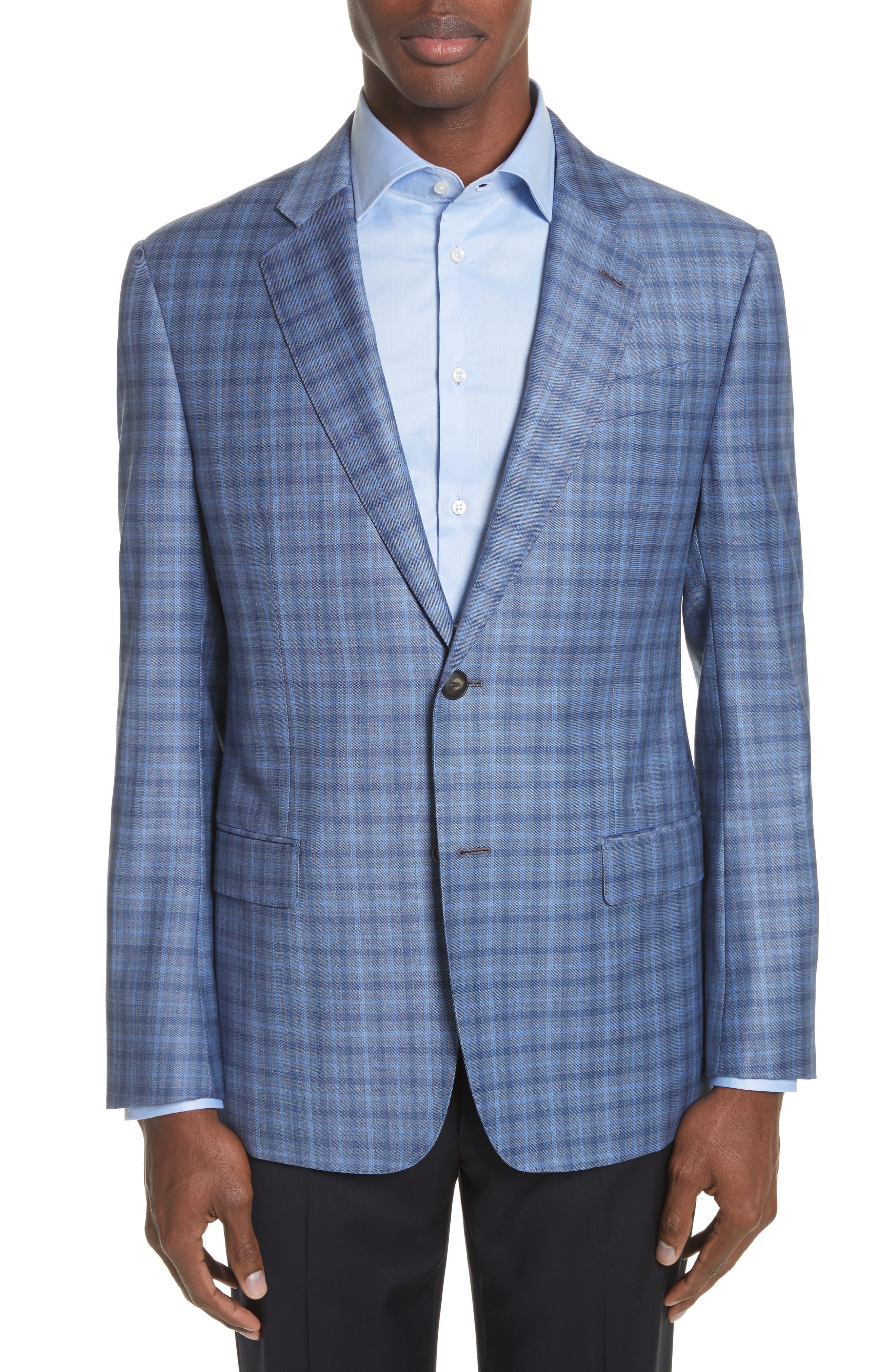 G Line Trim Fit Plaid Wool Sport Coat,                             Main thumbnail 1, color,                             Navy