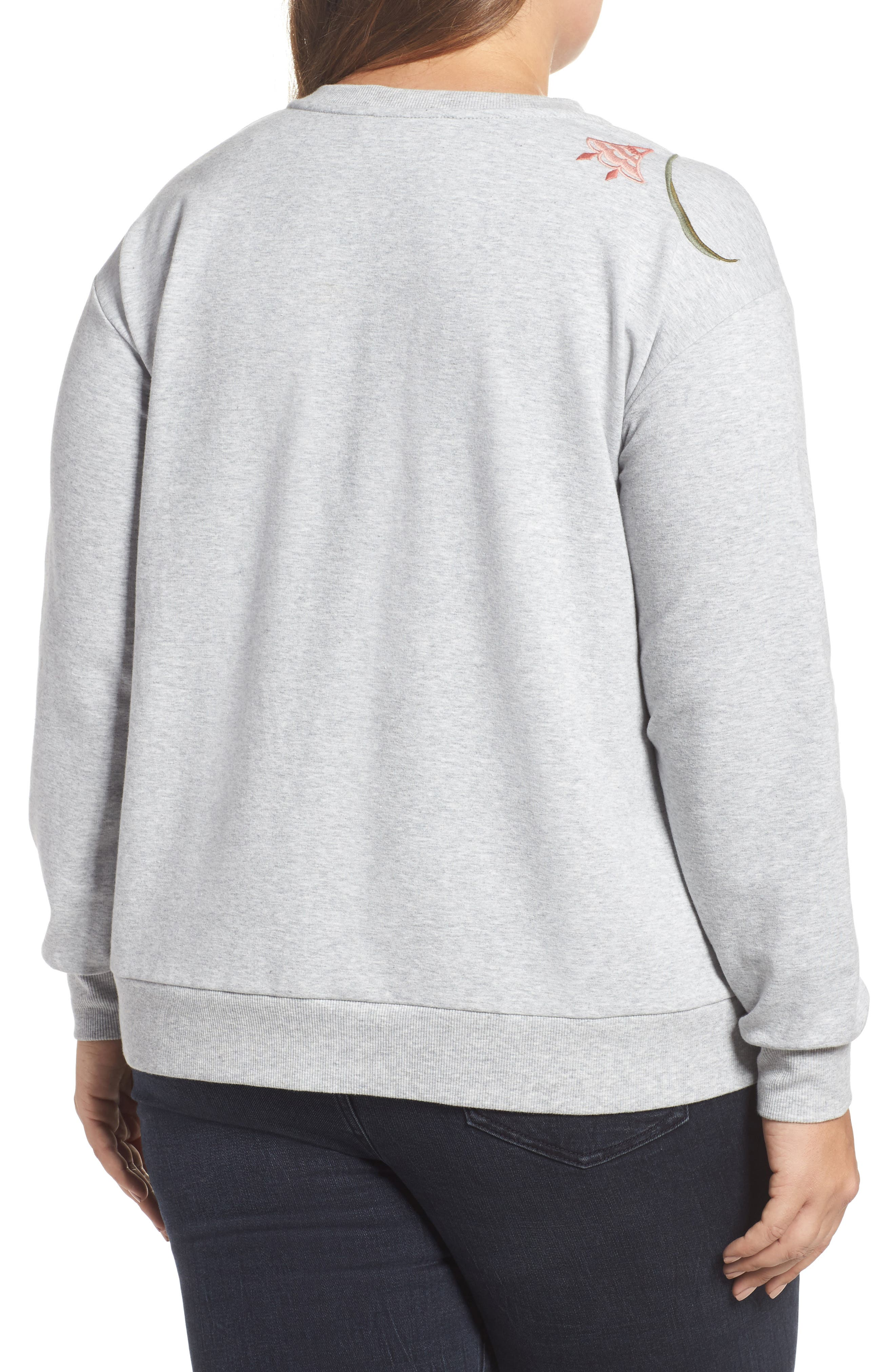 Alternate Image 2  - Two by Vince Camuto Embroidered Sweatshirt (Plus Size)