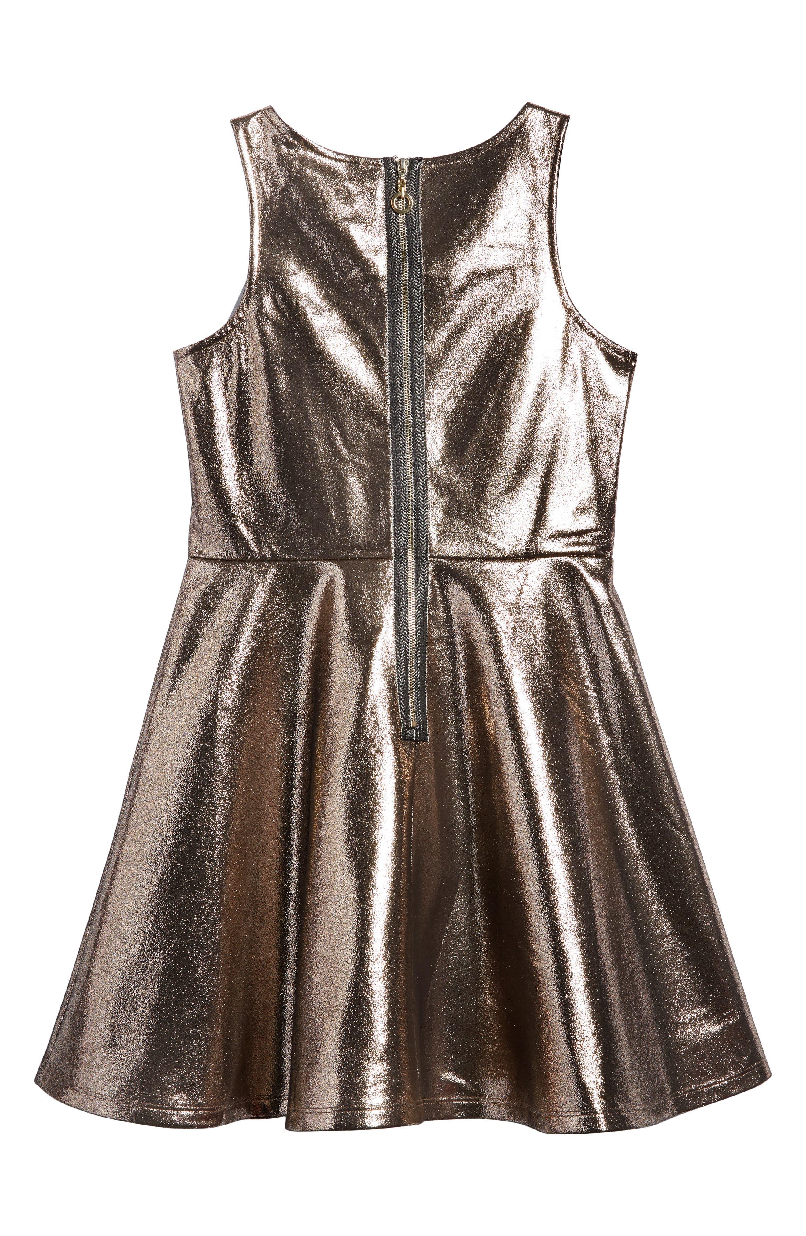 Embellished Metallic Skater Dress,                             Alternate thumbnail 2, color,                             Gold