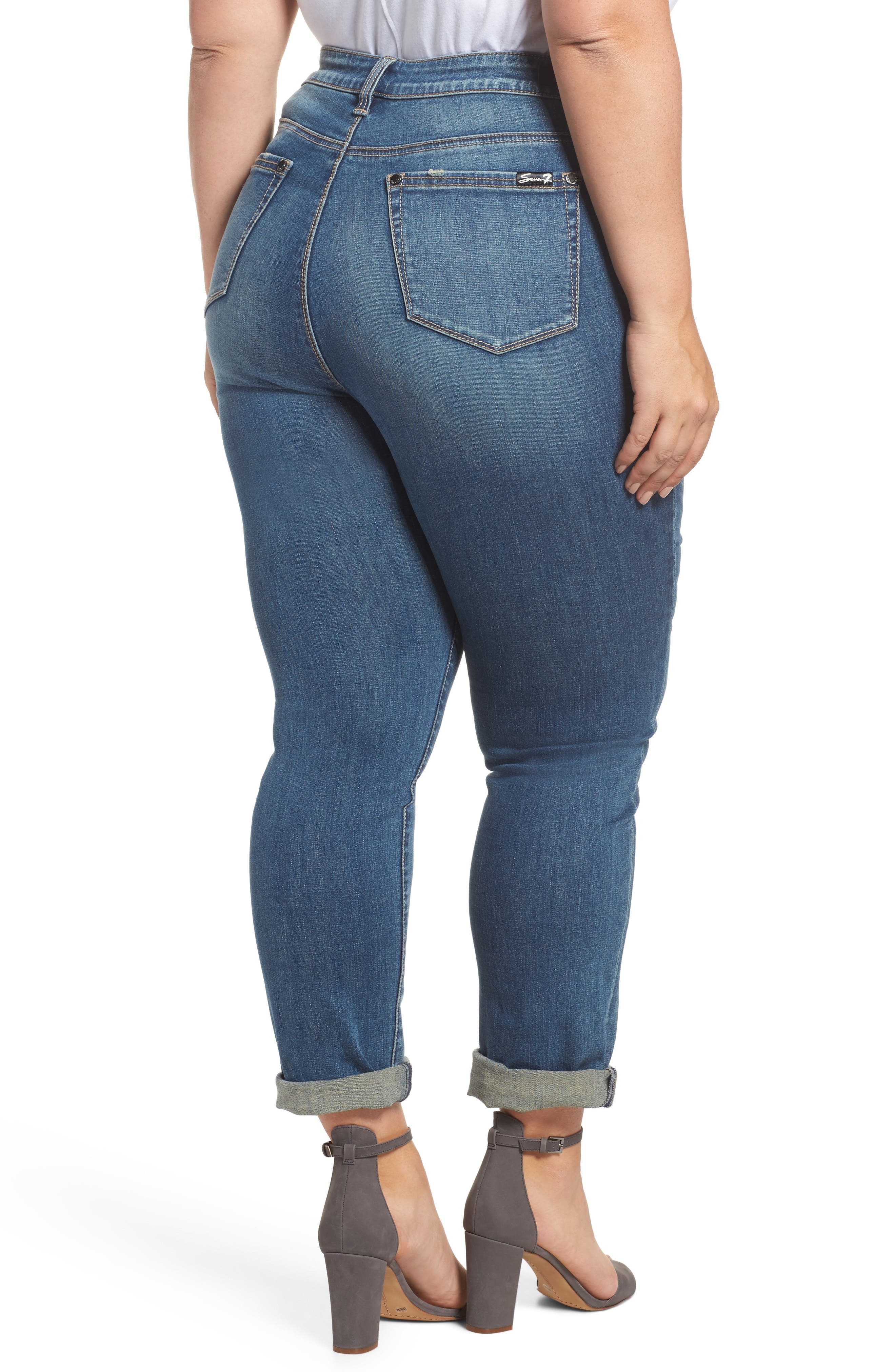 Alternate Image 2  - Seven7 Ripped & Embellished Skinny Jeans (Banks) (Plus Size)
