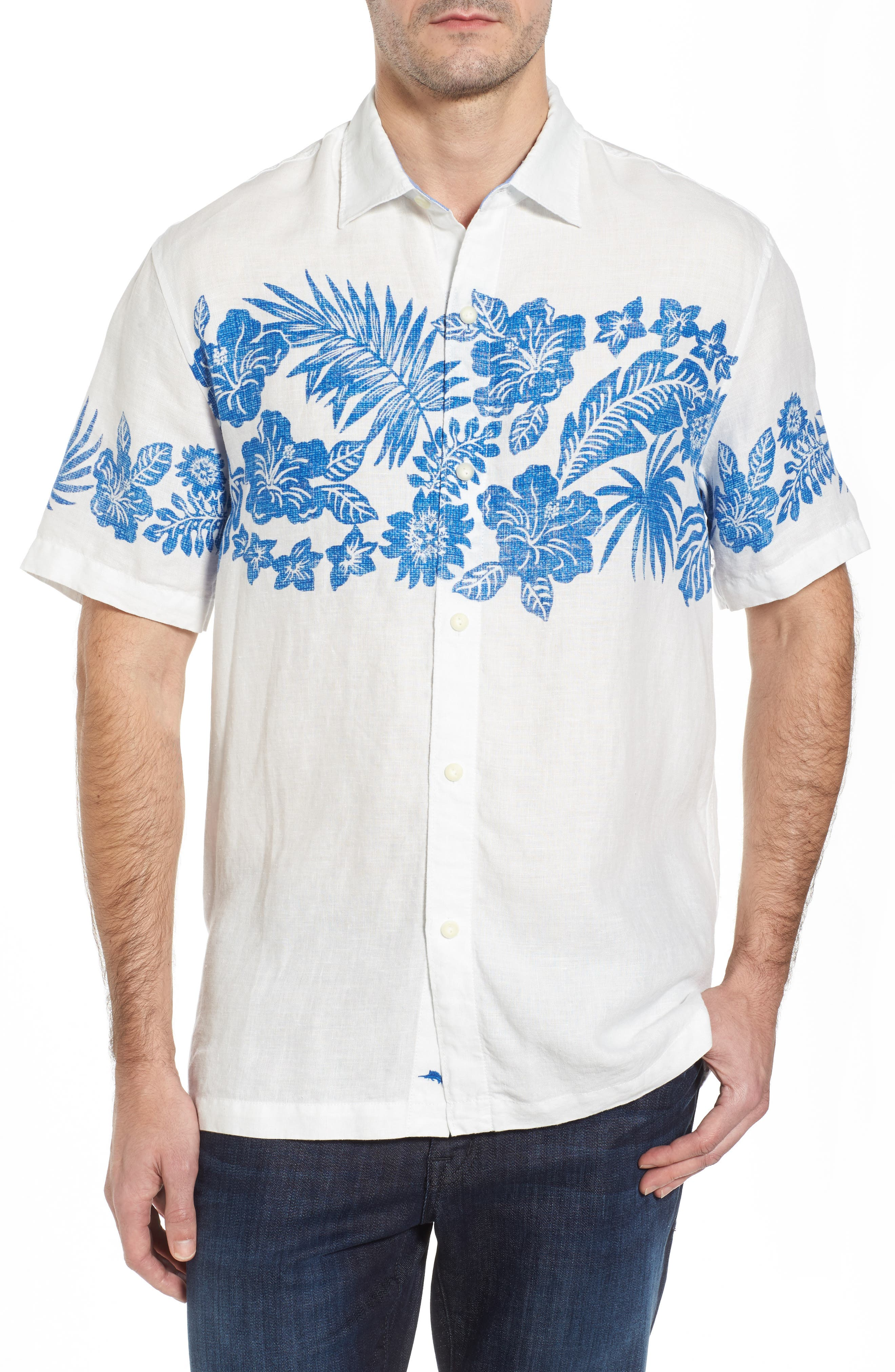 Waimea Wonder Linen Camp Shirt,                             Main thumbnail 1, color,                             Coconut