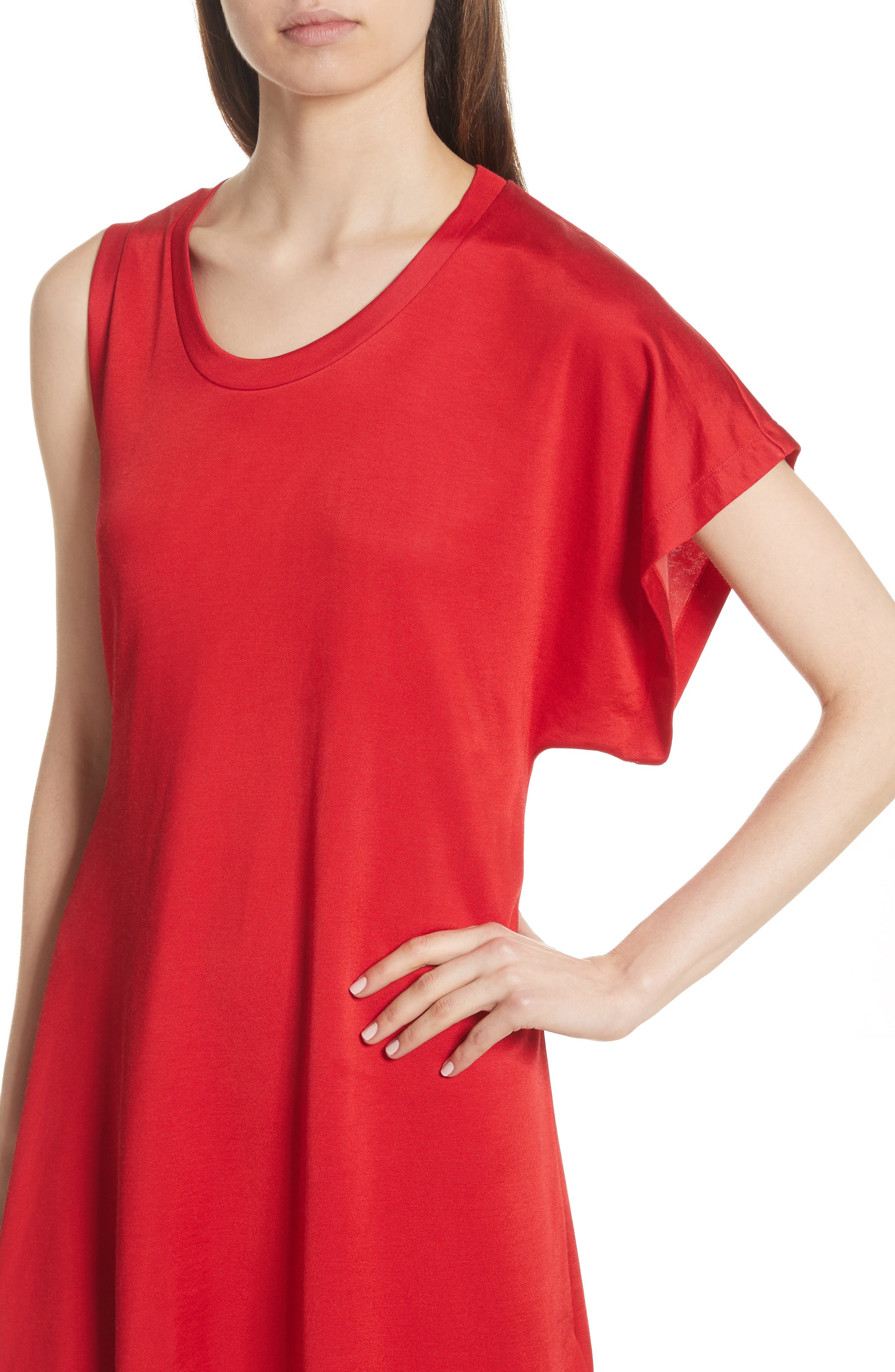 Sporty Asymmetrical Jersey Dress,                             Alternate thumbnail 4, color,                             Red