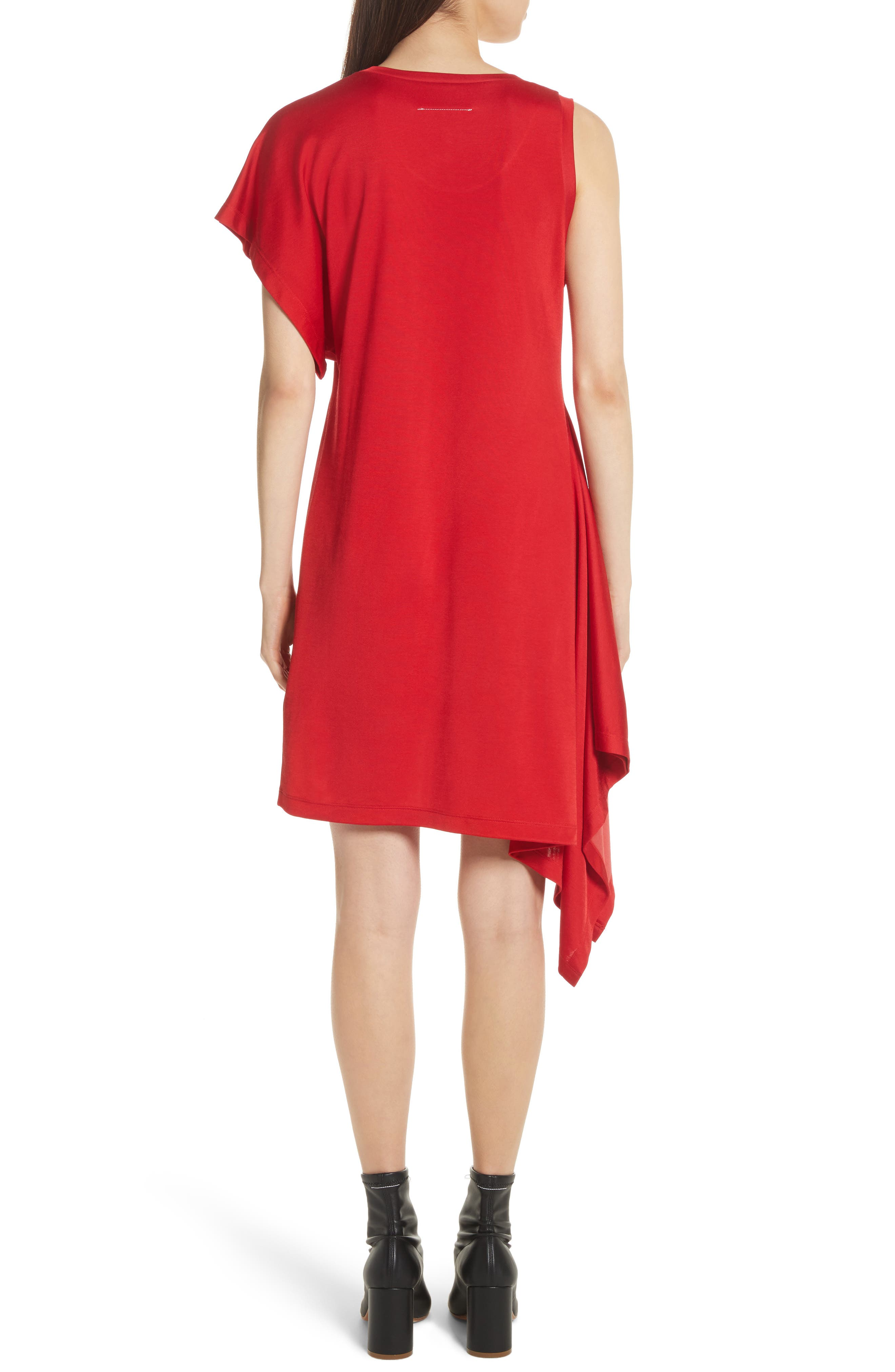 Sporty Asymmetrical Jersey Dress,                             Alternate thumbnail 2, color,                             Red