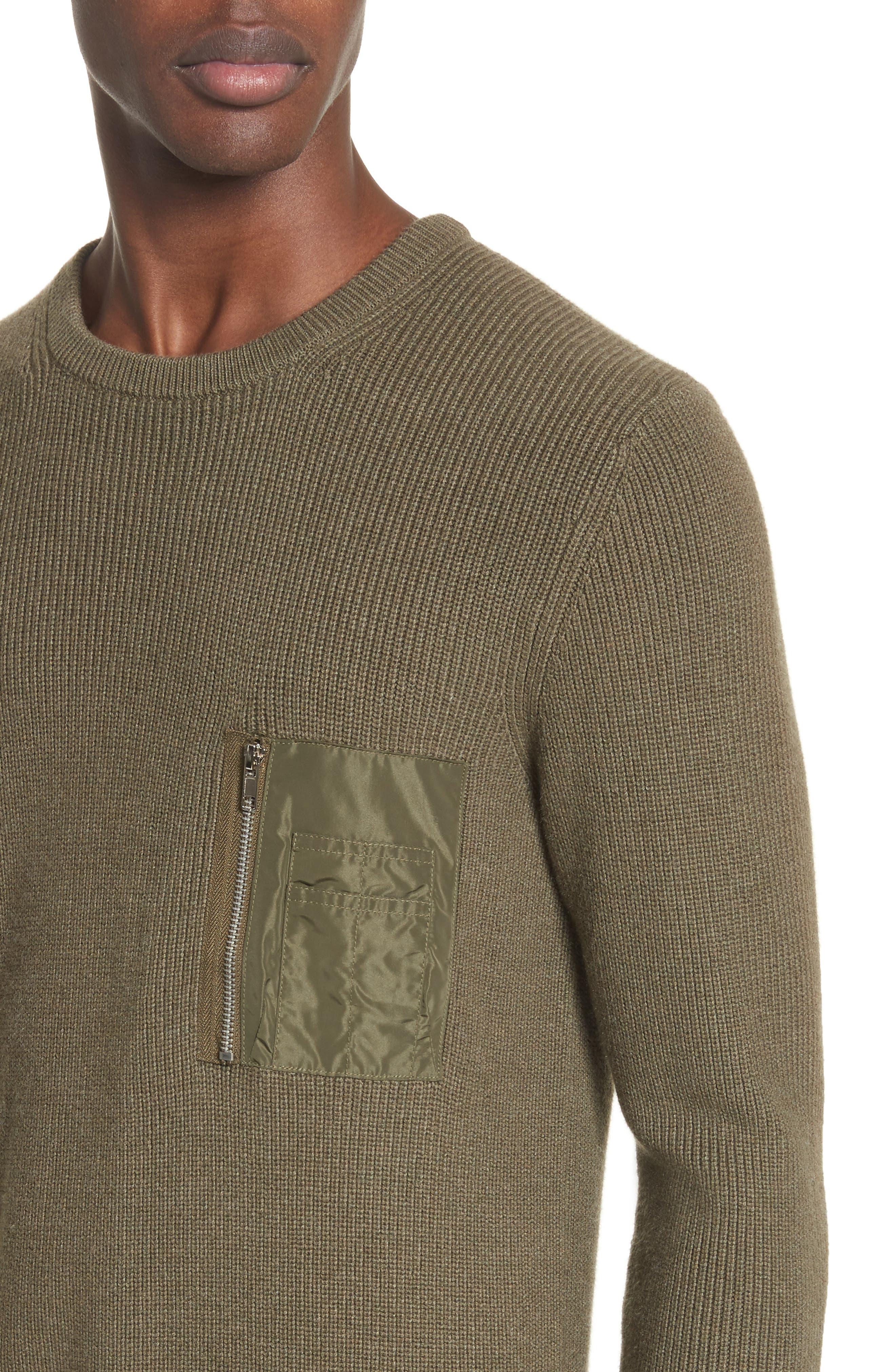 Crewneck Cotton Blend Sweater,                             Alternate thumbnail 4, color,                             Green