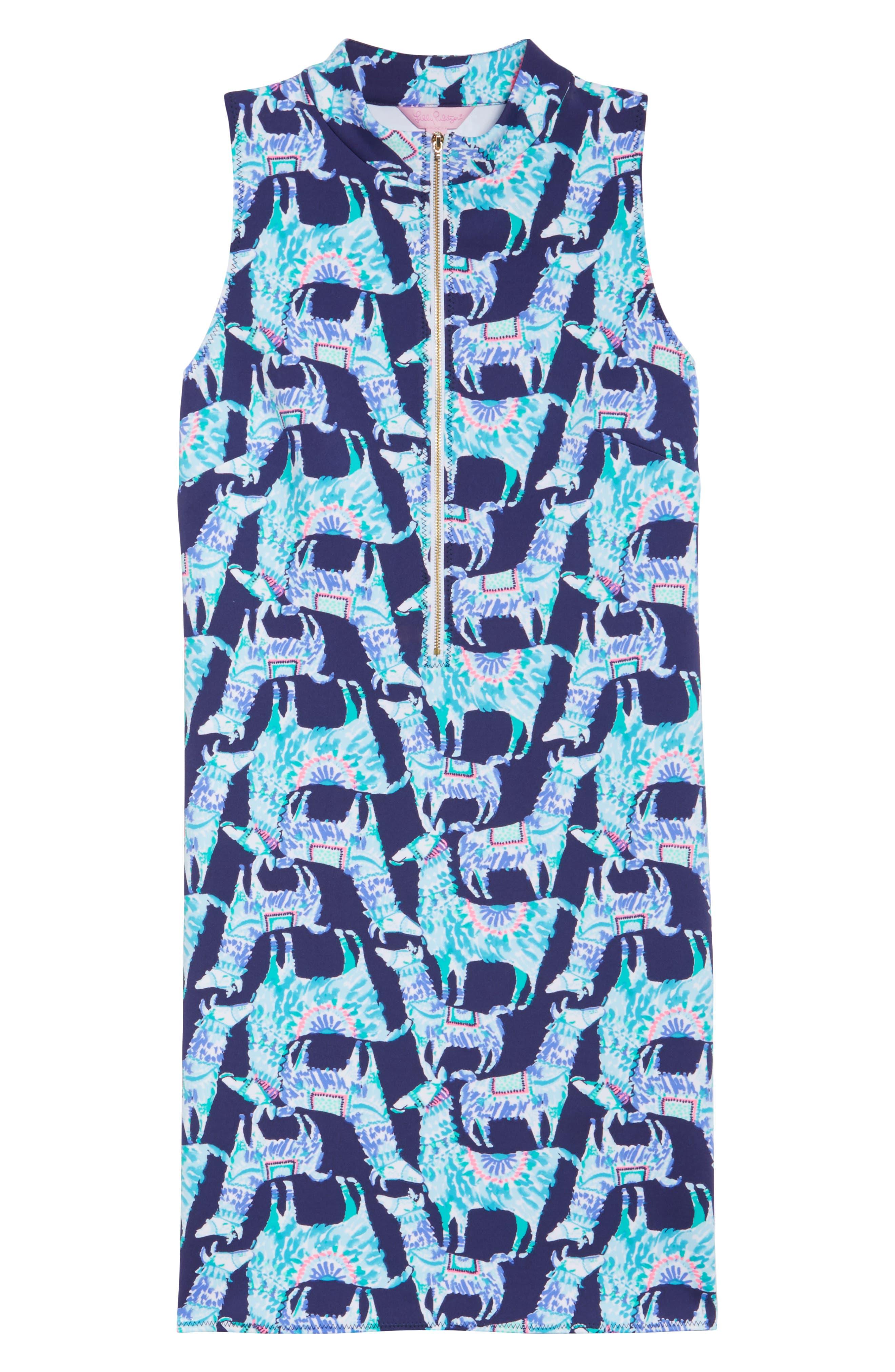 Opal Shift Dress,                             Alternate thumbnail 6, color,                             Bright Navy Alpaca My Bags