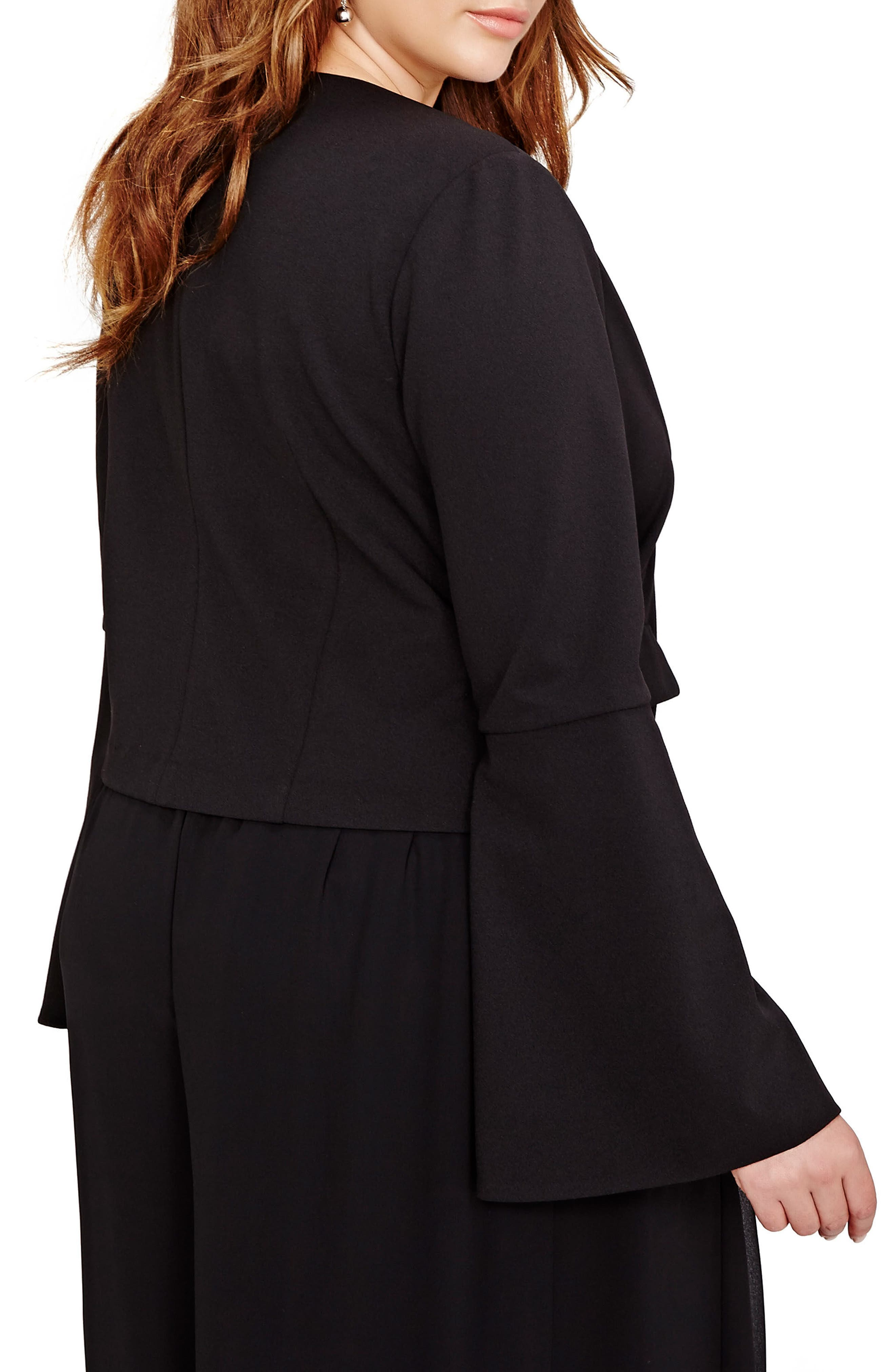 Bell Sleeve Crop Jacket,                             Alternate thumbnail 3, color,                             Black