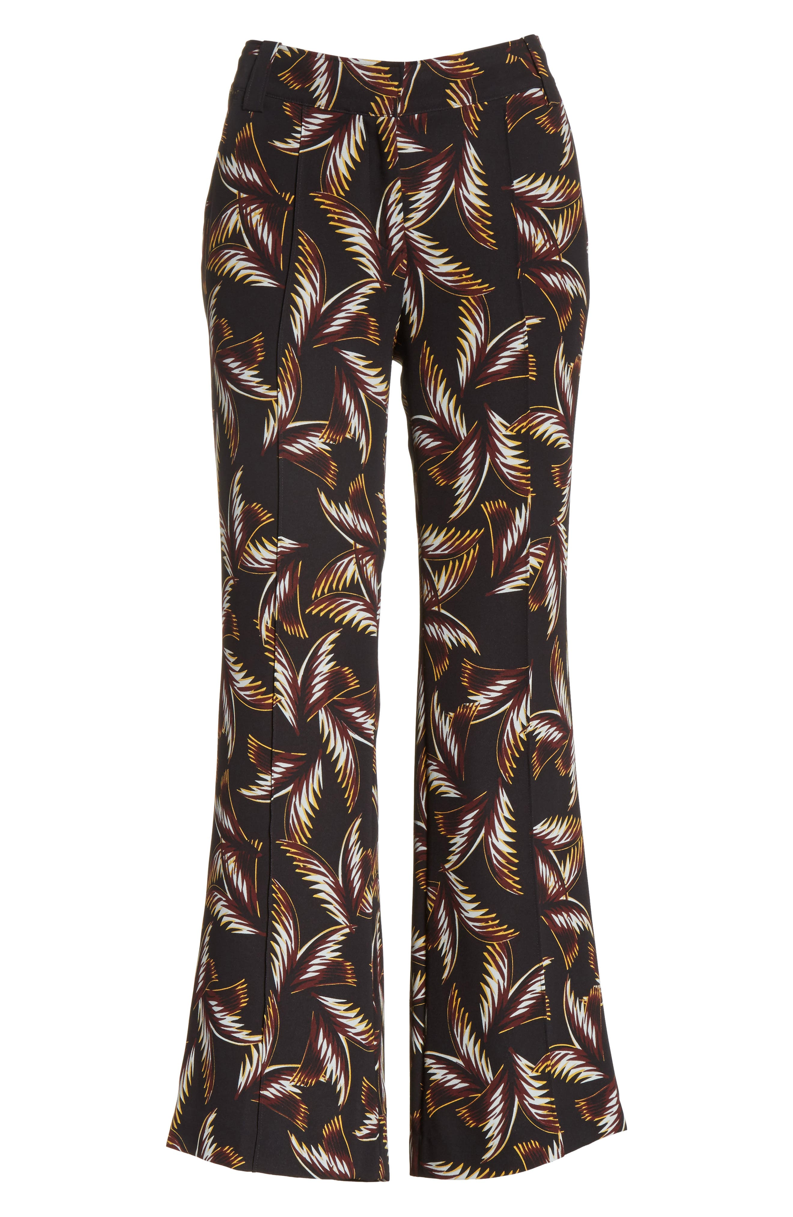 Felix Print Silk Crop Flare Pants,                             Alternate thumbnail 7, color,                             Black
