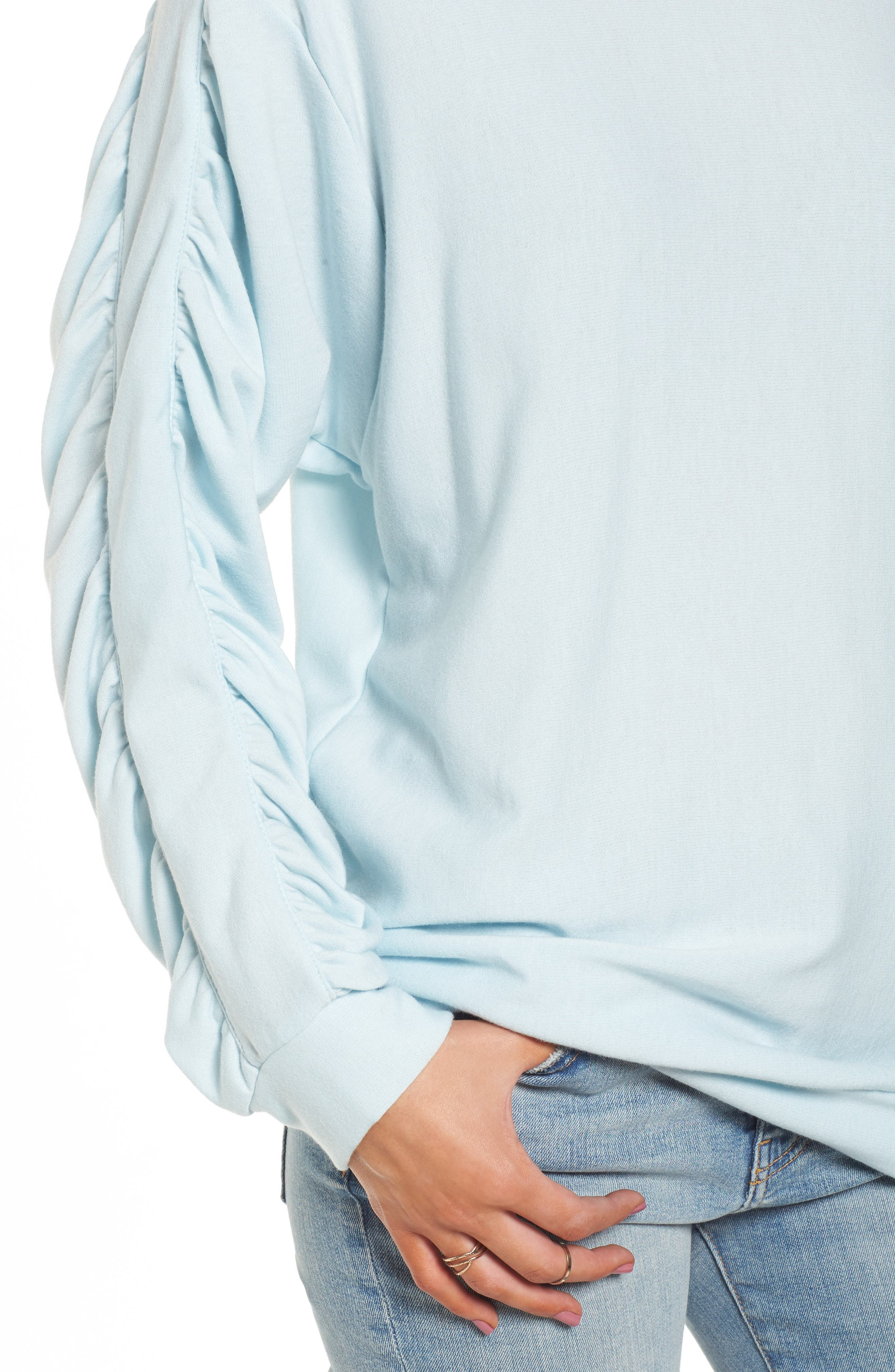 Alternate Image 4  - PST by Project Social T Ruched Sleeve Sweatshirt