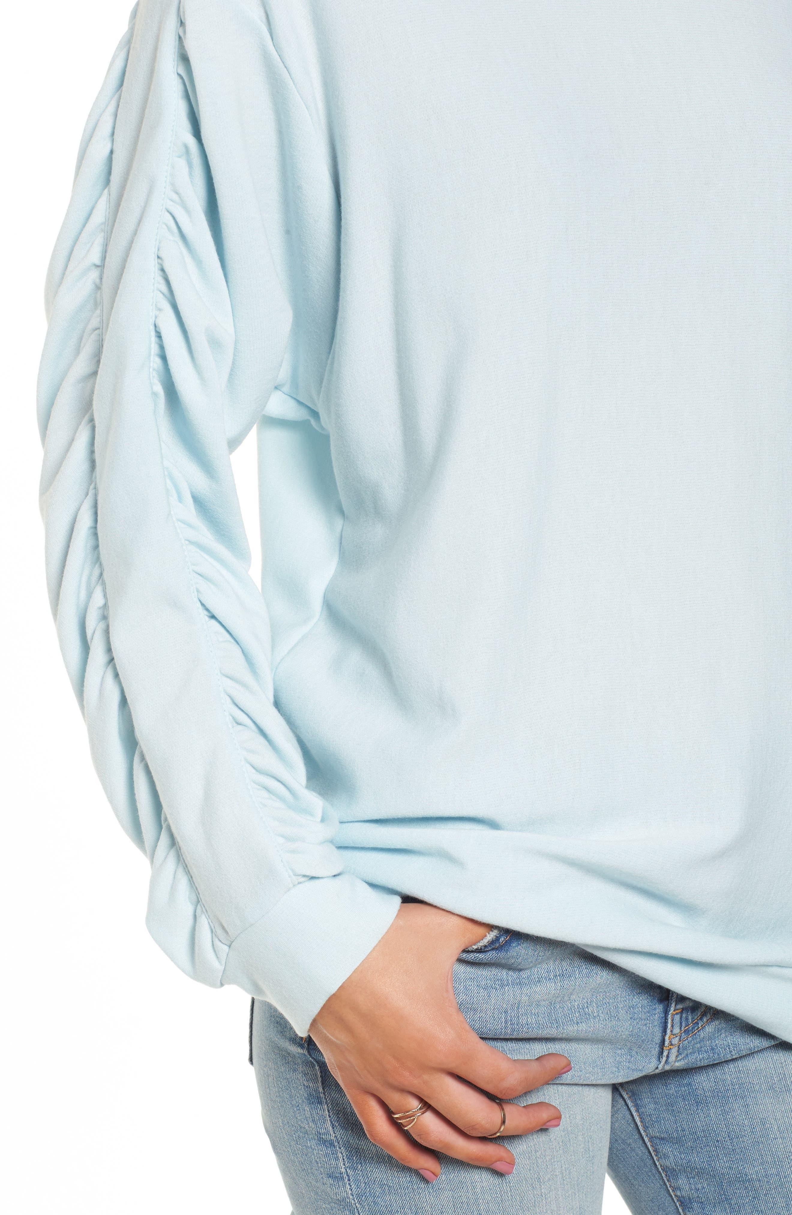 Ruched Sleeve Sweatshirt,                             Alternate thumbnail 4, color,                             Light Blue