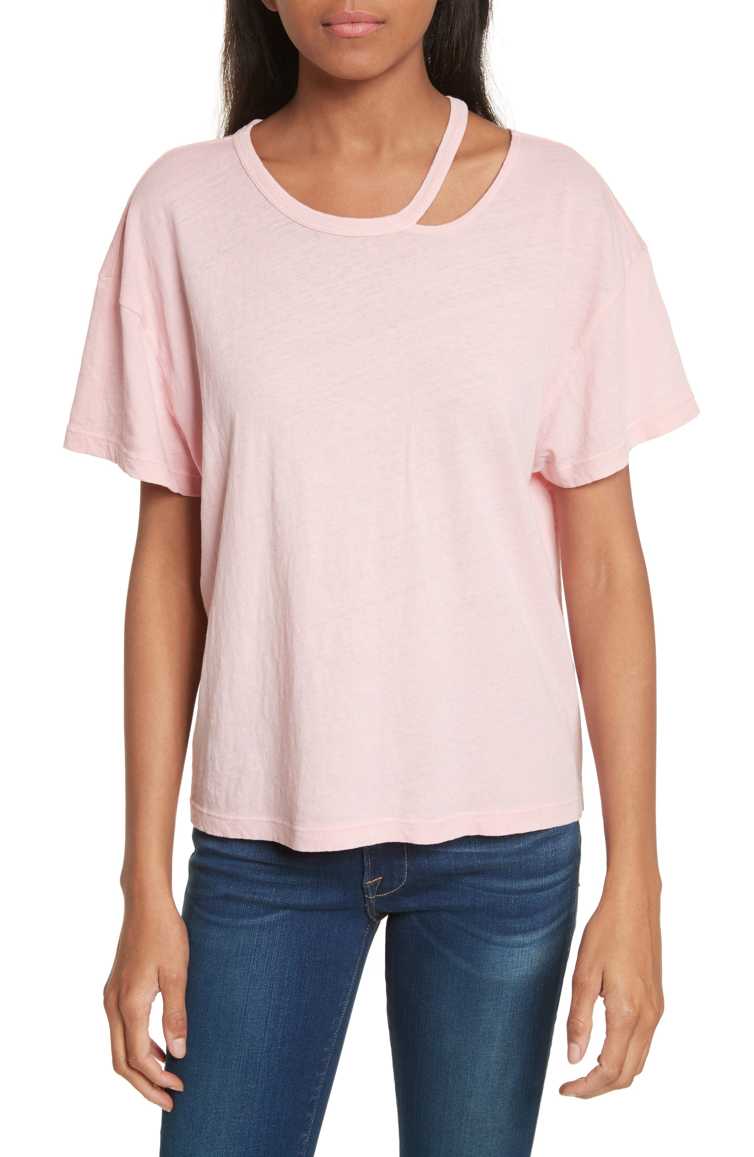 Chopped Crew Tee,                             Main thumbnail 1, color,                             Faded Light Pink Exclusive