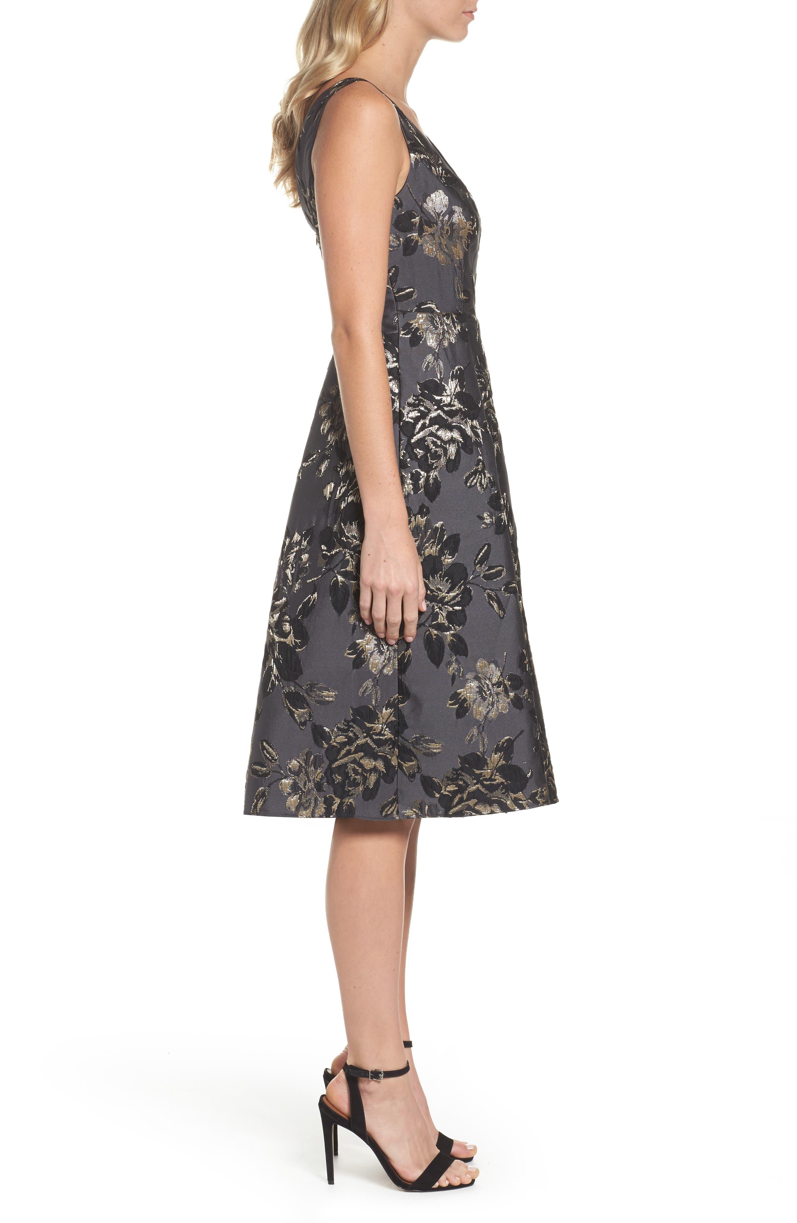 Jessa Fit & Flare Dress,                             Alternate thumbnail 3, color,                             Black Multi