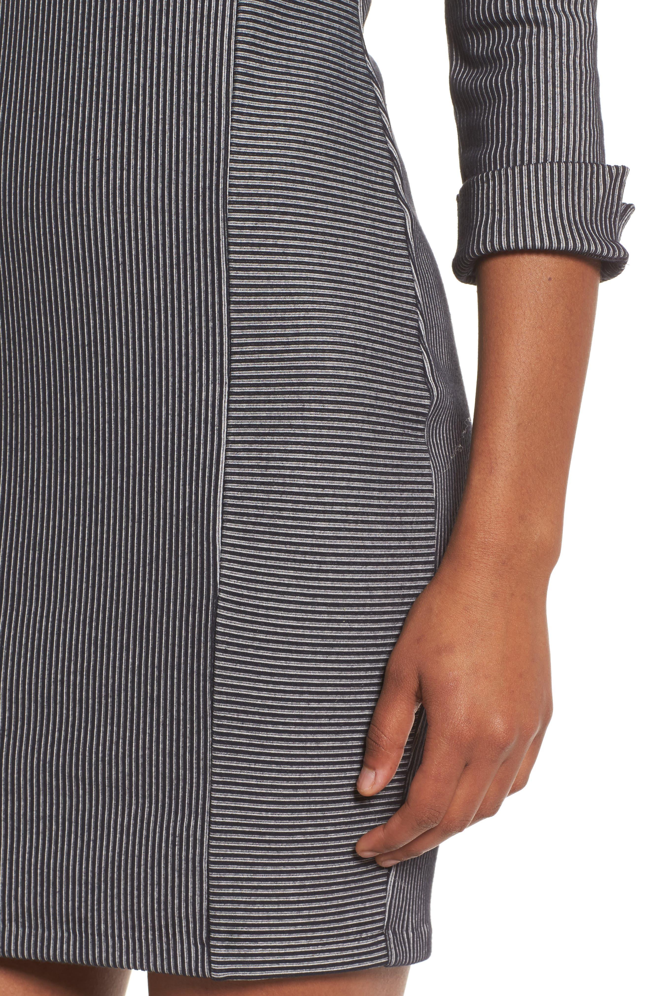 Rosario Jersey Body-Con Dress,                             Alternate thumbnail 4, color,                             Utility Blue/ Linen White