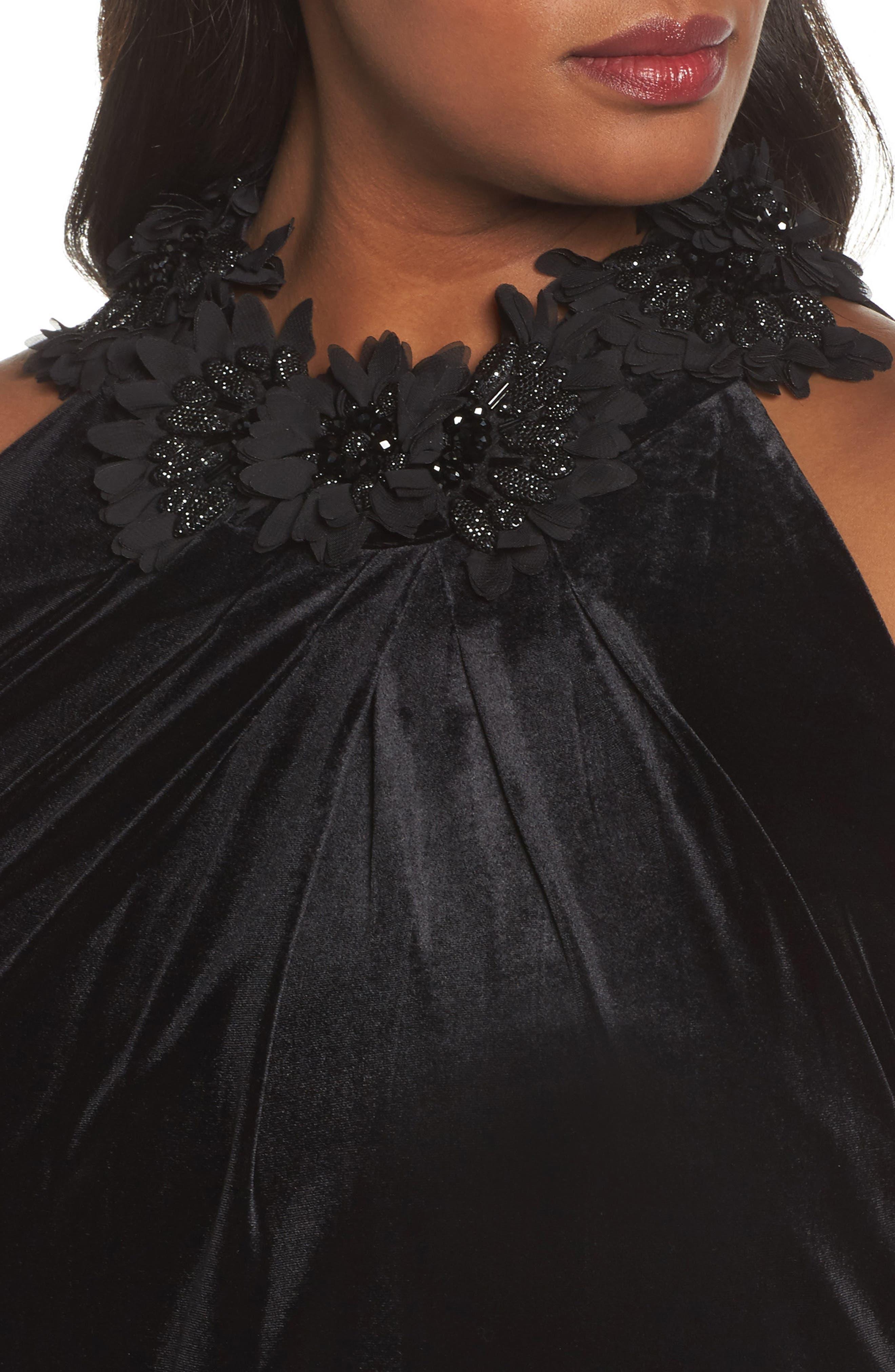 Embellished Velvet Shift Dress,                             Alternate thumbnail 4, color,                             Black