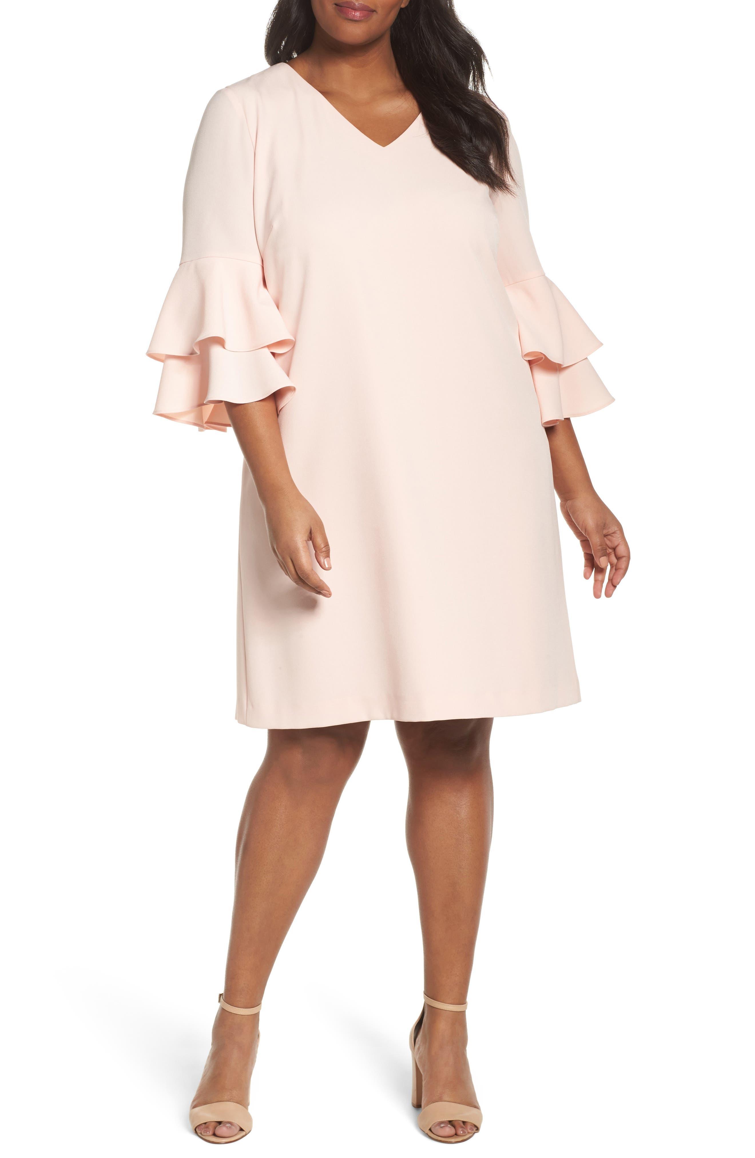 Bell Sleeve Ruffle Shift Dress,                         Main,                         color, Blush