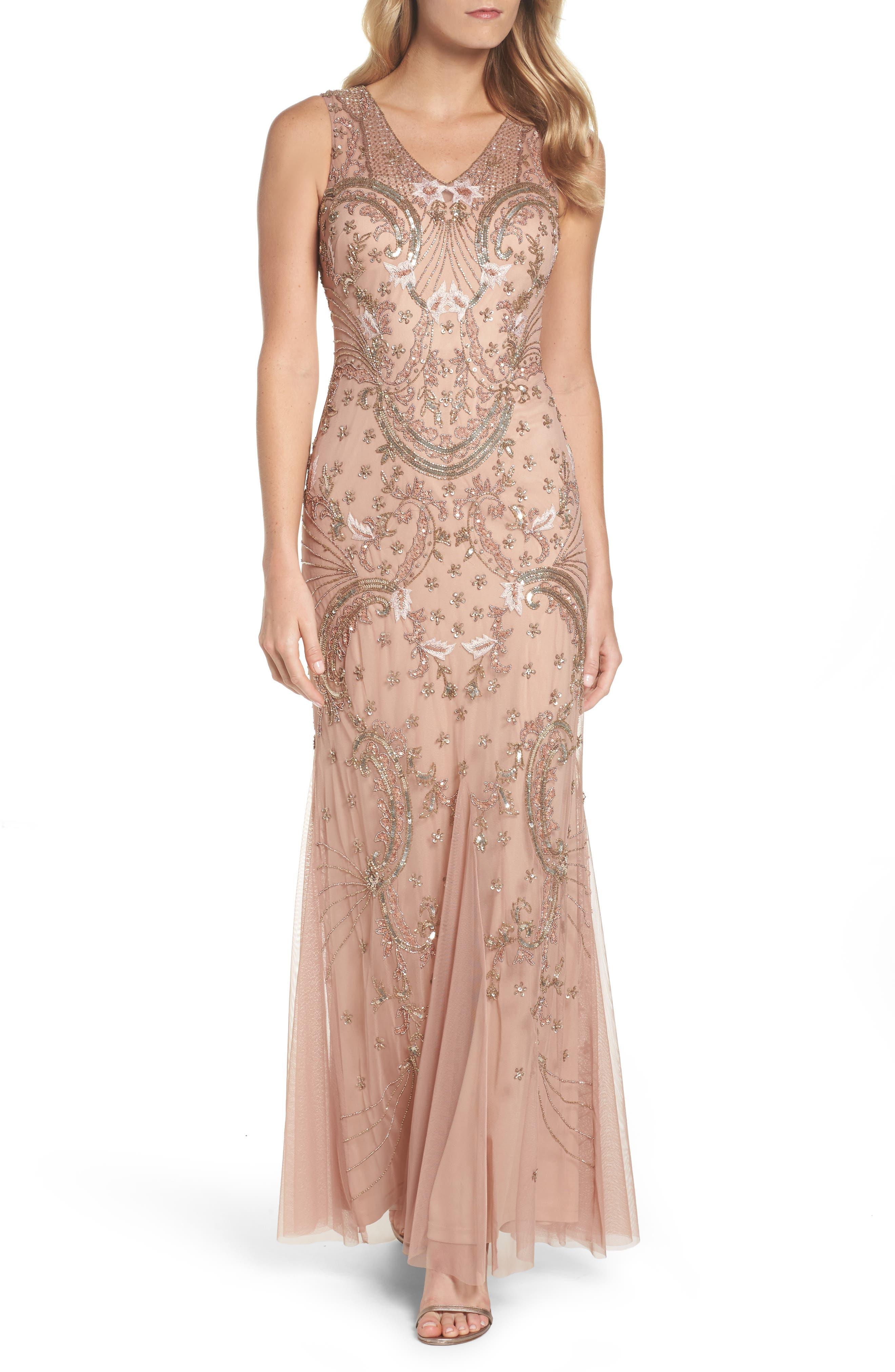 Beaded Mesh Dress,                         Main,                         color, Rose Gold
