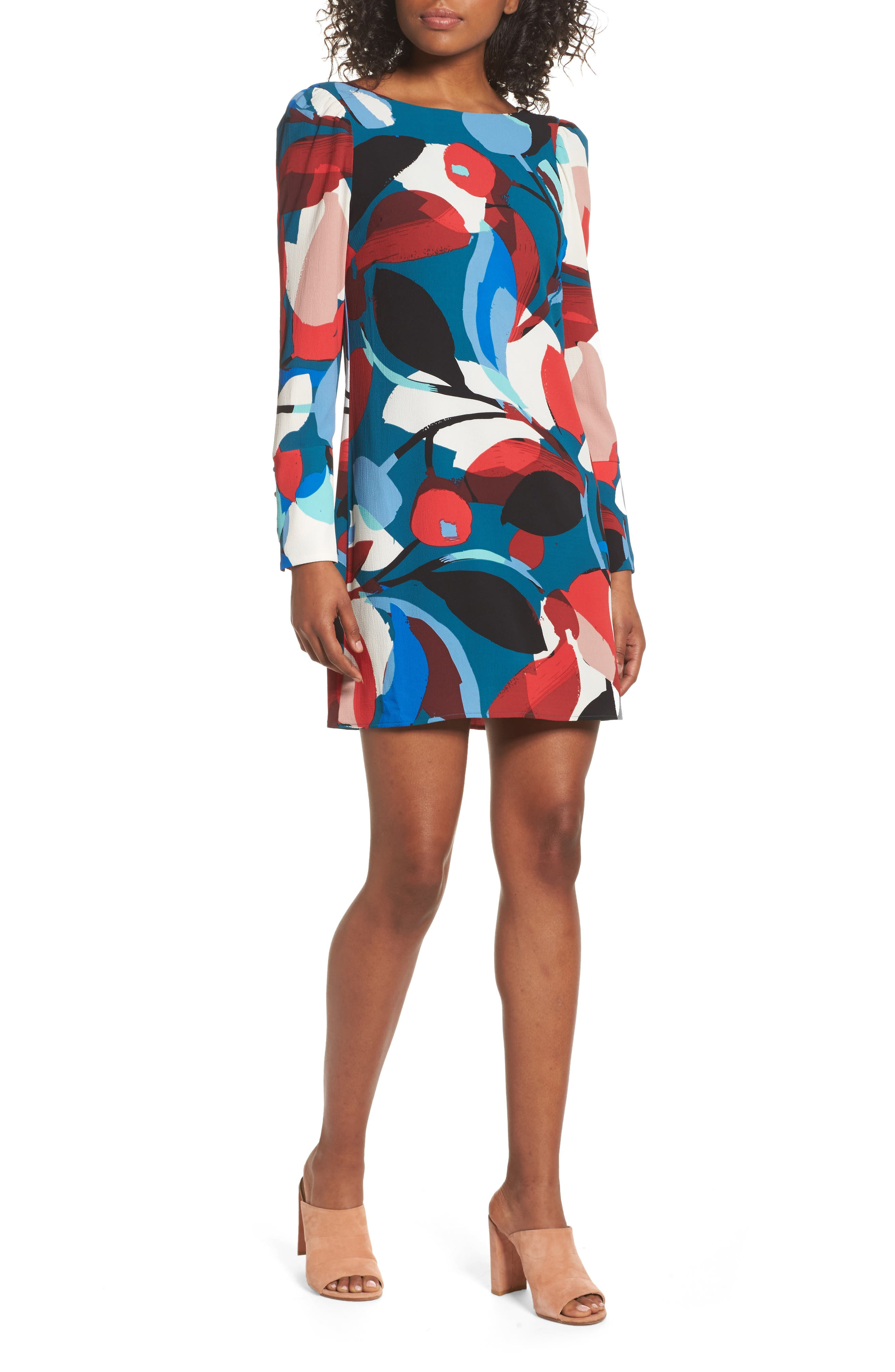 Long Sleeve Shift Dress,                         Main,                         color, Teal/ Red Abstract
