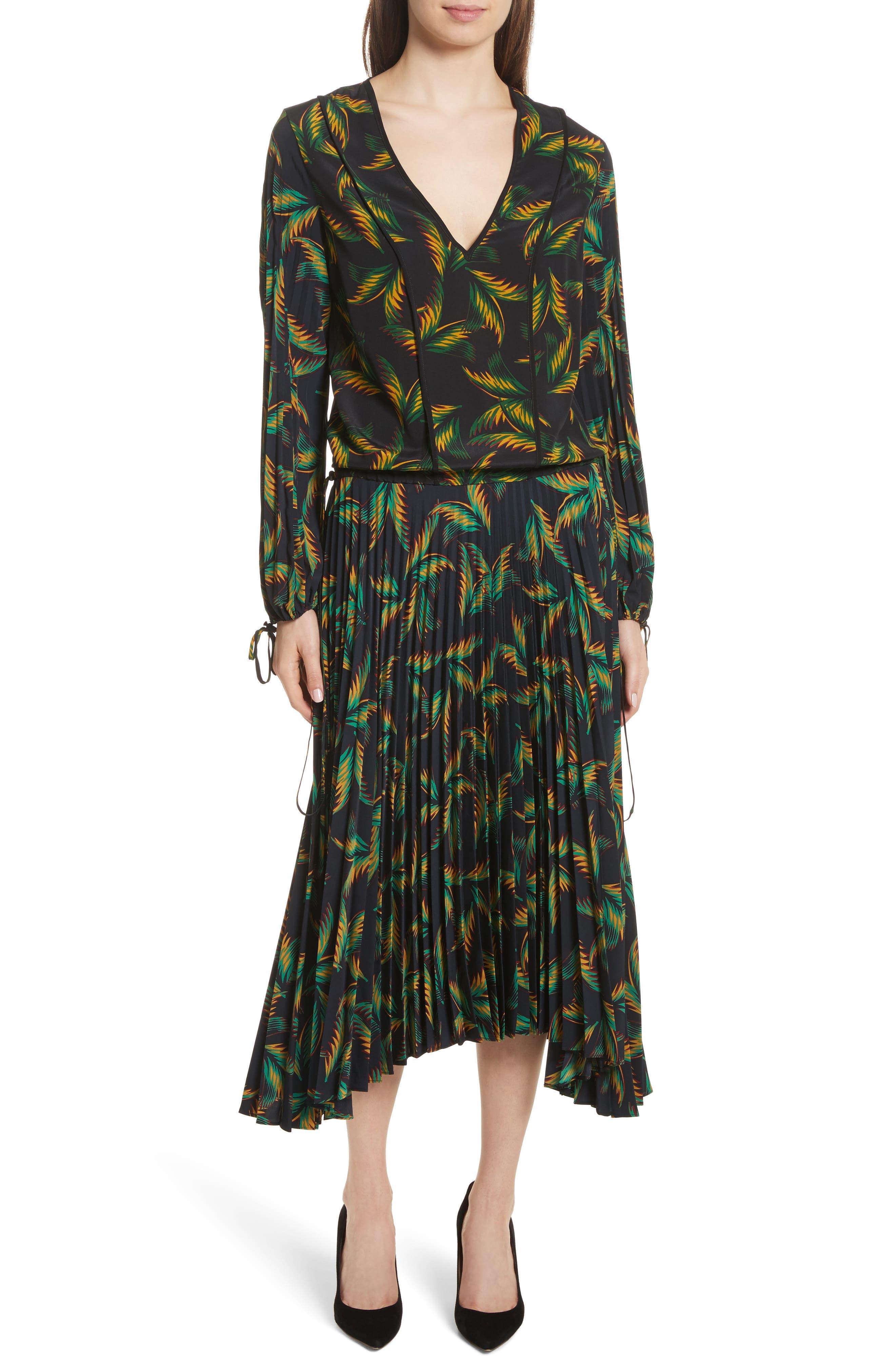 Brooks Pleated Silk Midi Dress,                         Main,                         color, Black