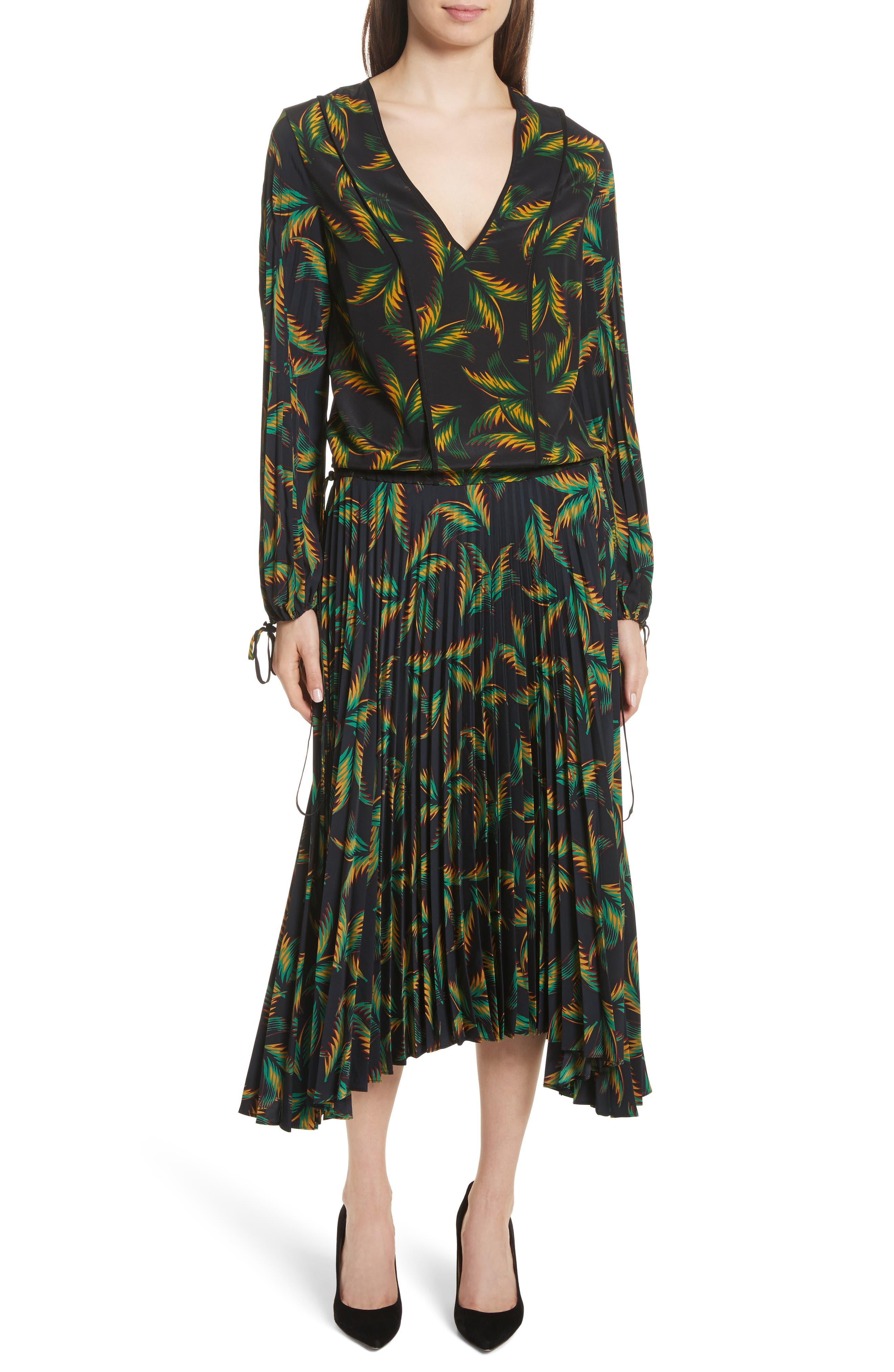 A.L.C. Brooks Pleated Silk Midi Dress