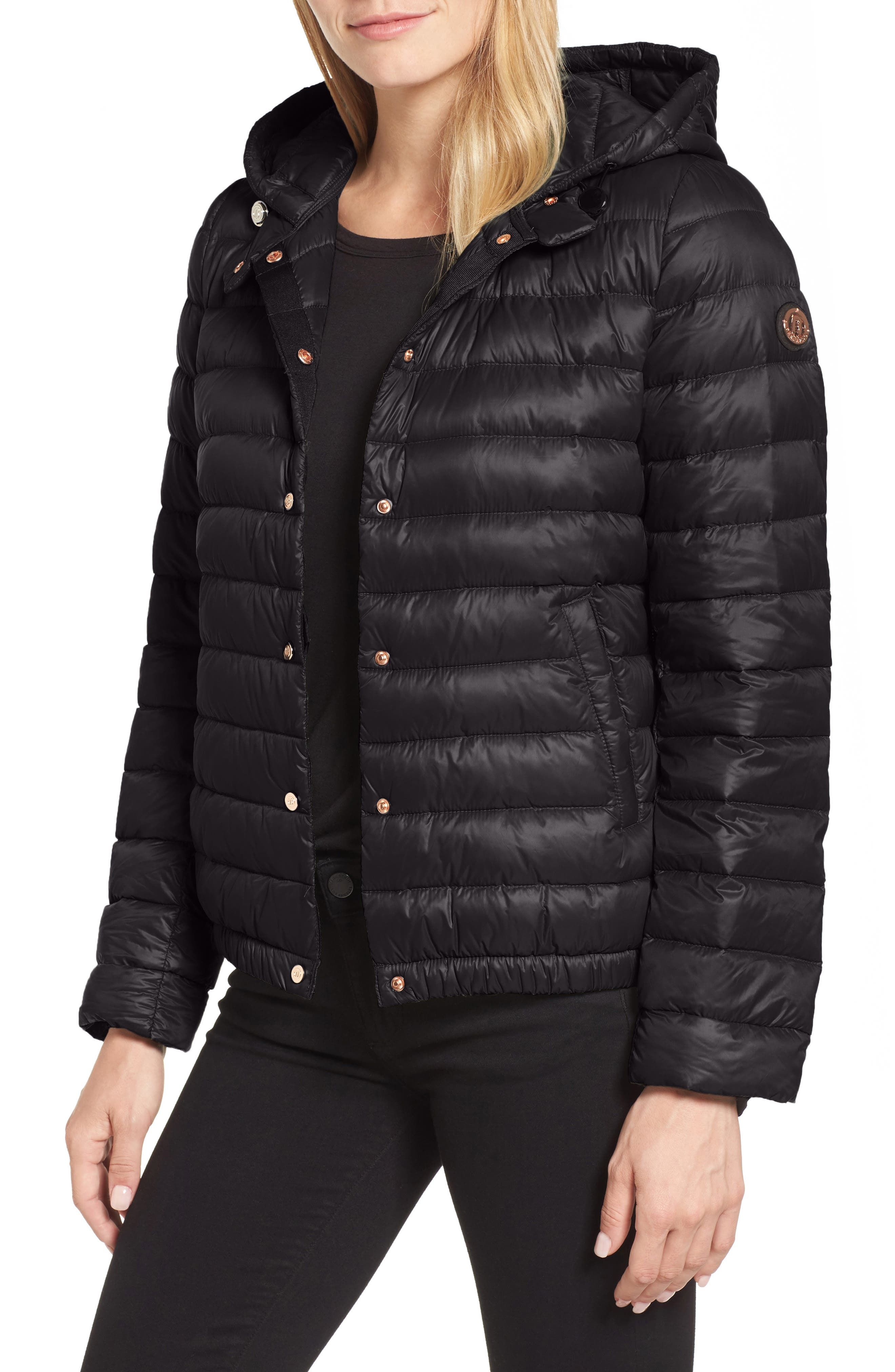 Water Resistant Insulated Hooded Bomber Jacket,                         Main,                         color, Black