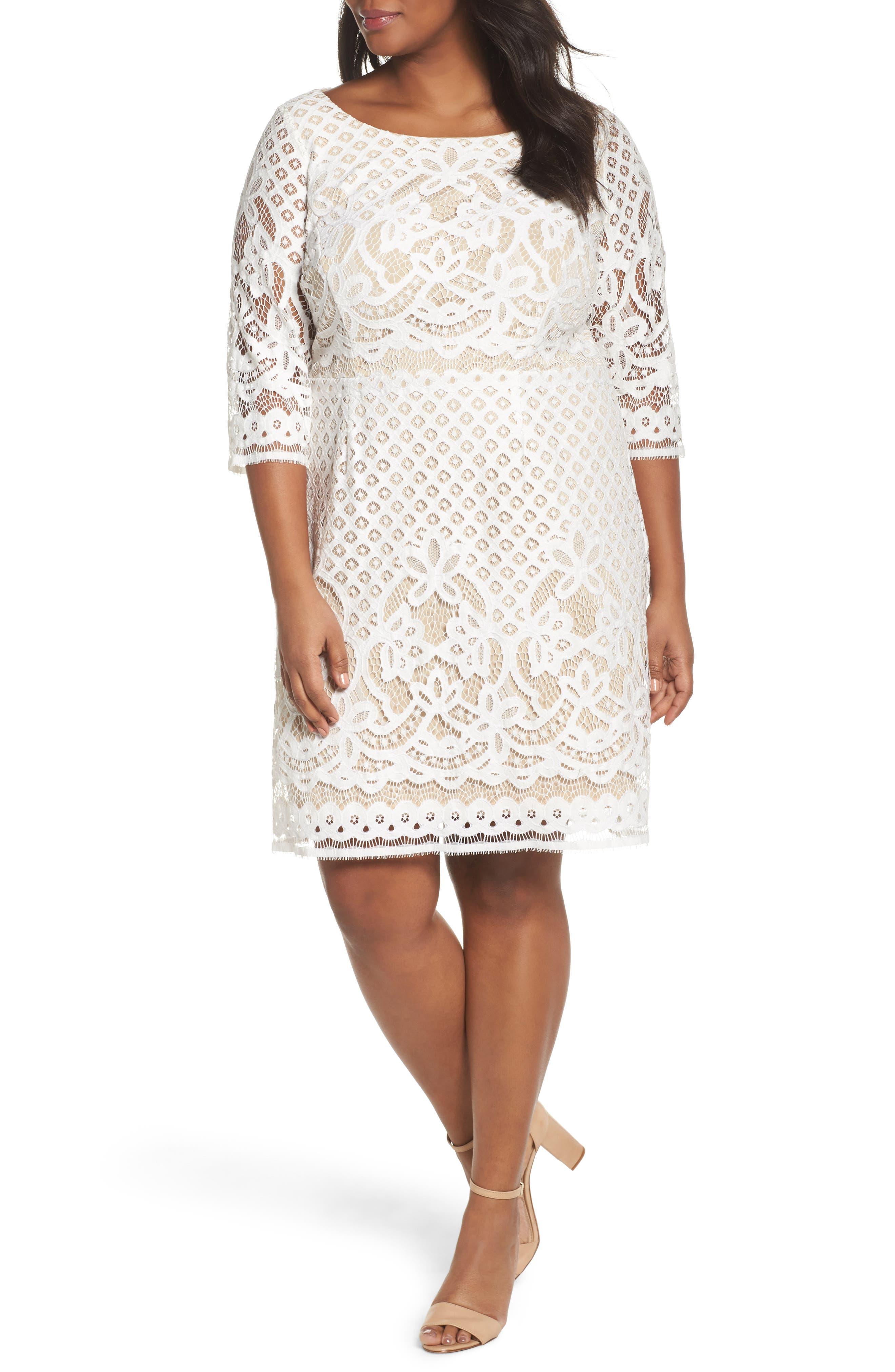 Vince Camuto Lace Sheath Dress (Plus Size)