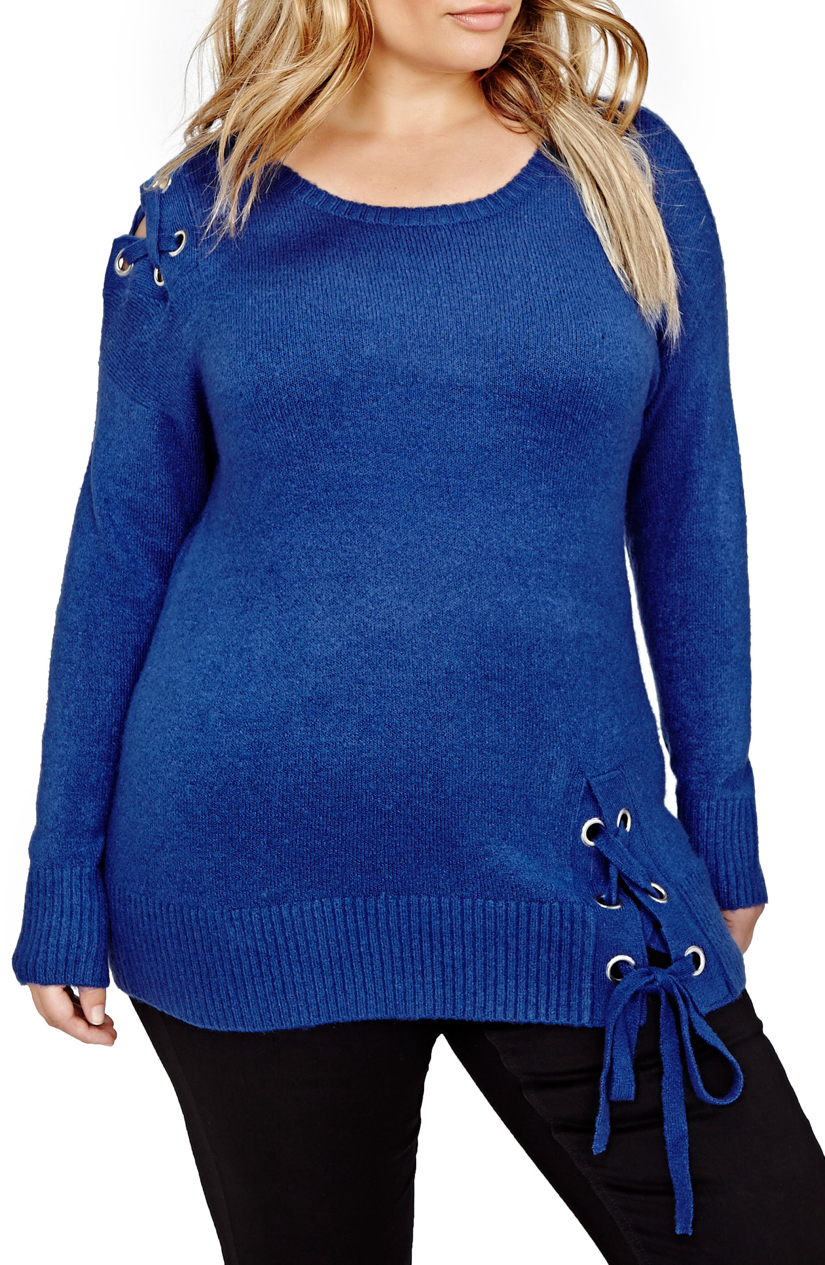 ADDITION ELLE LOVE AND LEGEND Lace-Up Sweater (Plus Size)
