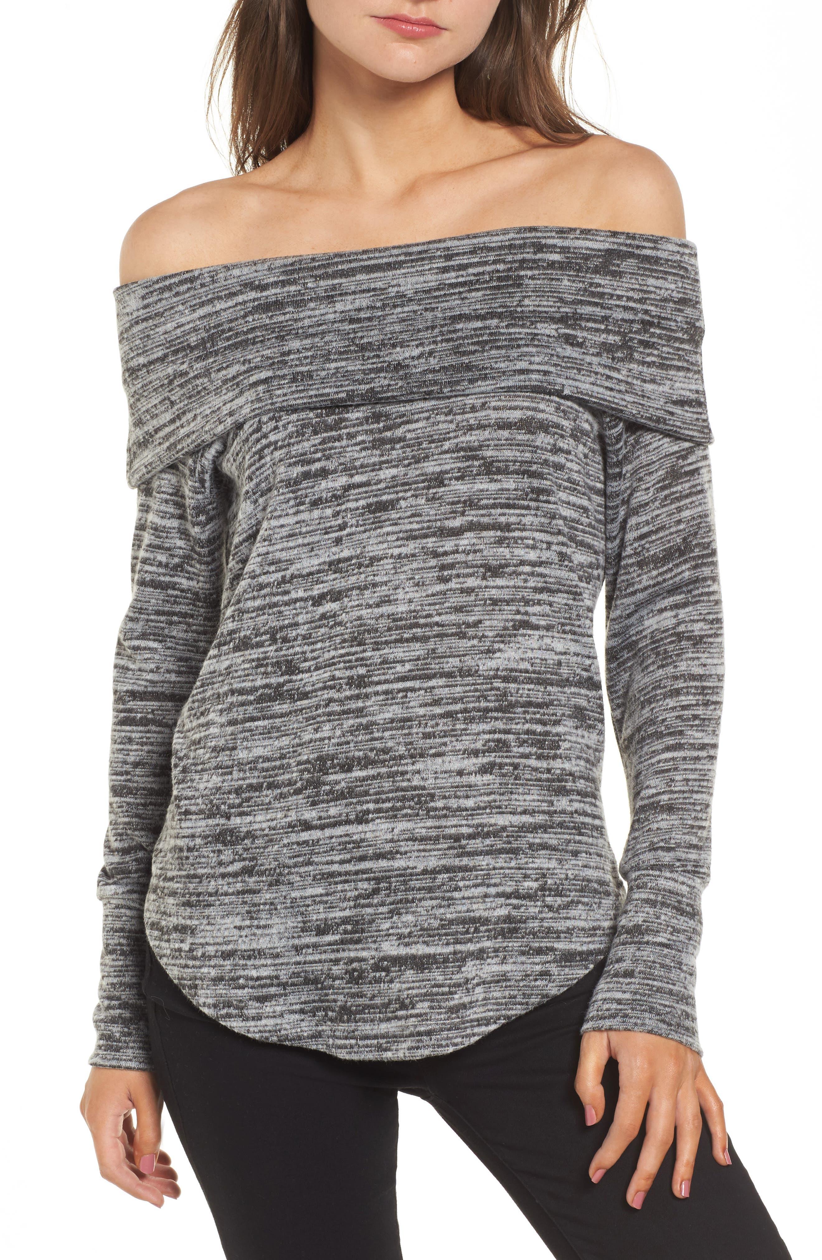 Off the Shoulder Sweatshirt,                             Main thumbnail 1, color,                             Grey/ Black