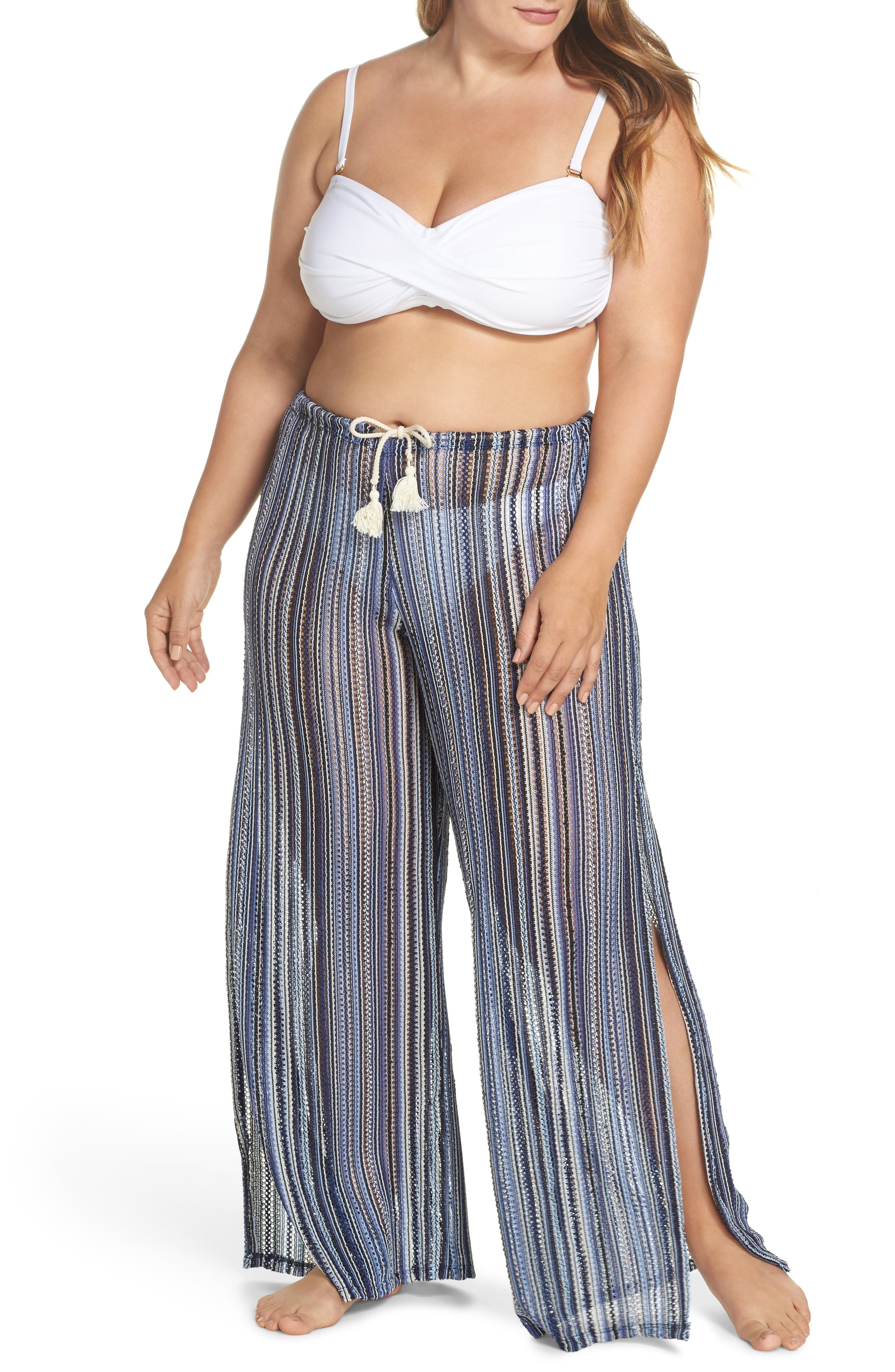 Pierside Cover-Up Flyaway Pants,                             Main thumbnail 1, color,                             Black Multi