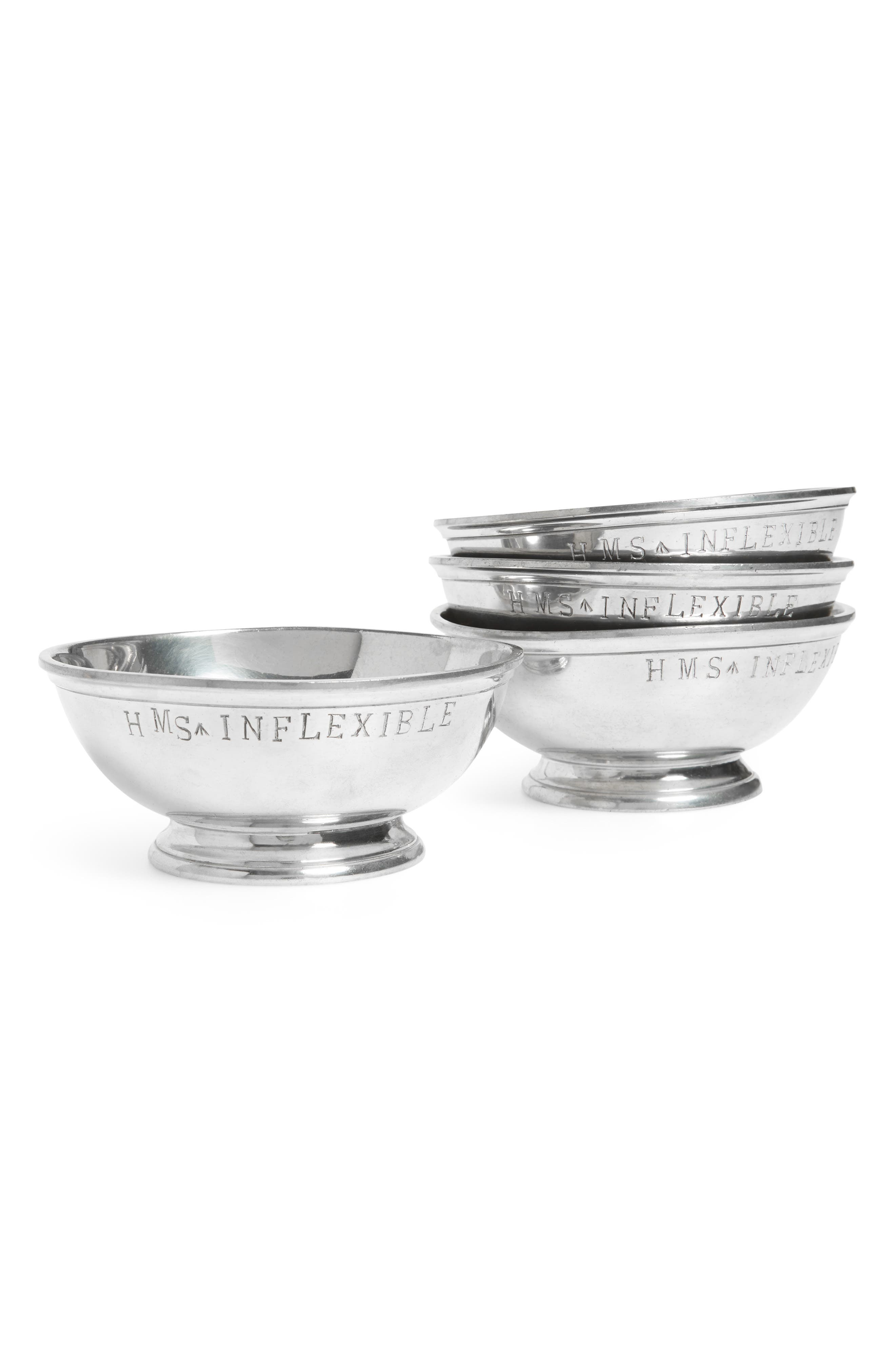 One of a Kind Vintage Set of 4 HMS Inflexible Stamped Pewter Bowls,                         Main,                         color, Silver