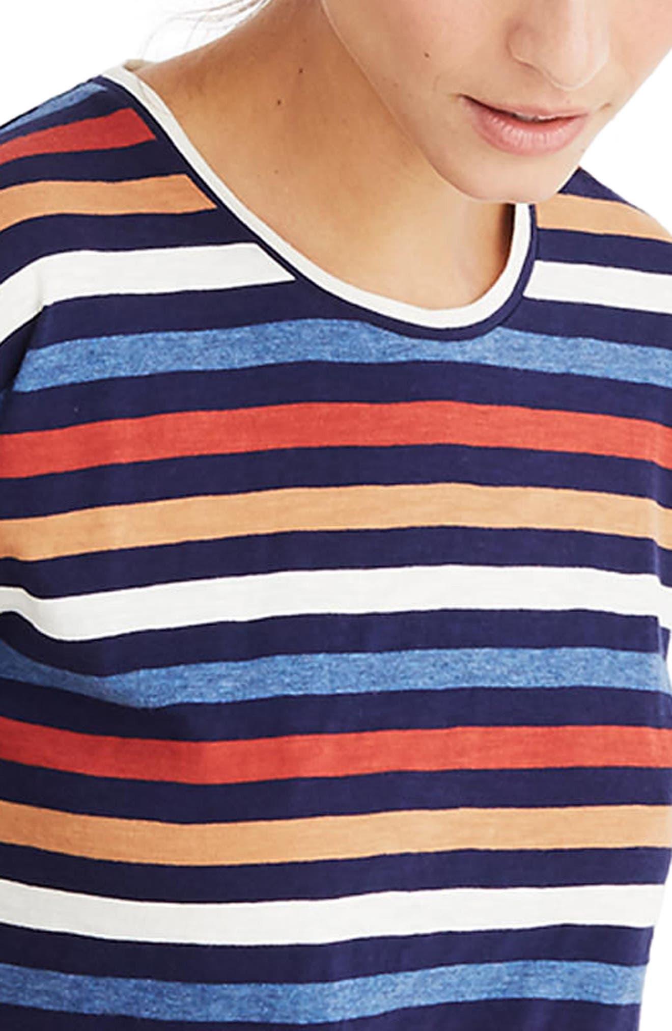 Whisper Cotton Stripe Tee,                             Alternate thumbnail 3, color,                             Nightfall