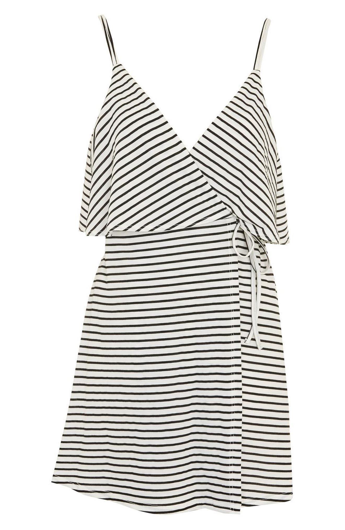 Stripe Wrap Sundress,                             Alternate thumbnail 4, color,                             White Multi