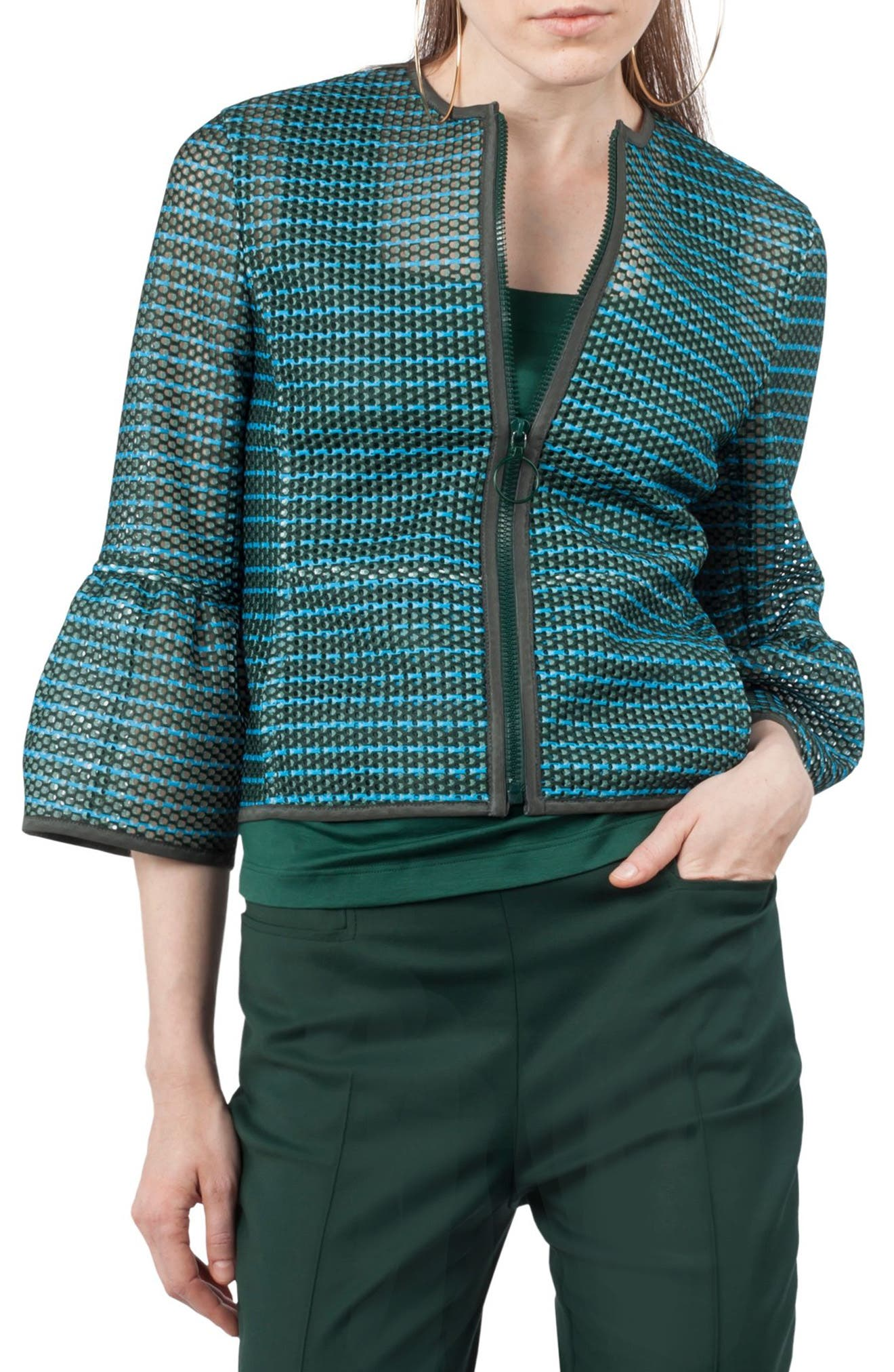 Stripe Mesh Jacket,                             Main thumbnail 1, color,                             Palm Leaf / Turquoise