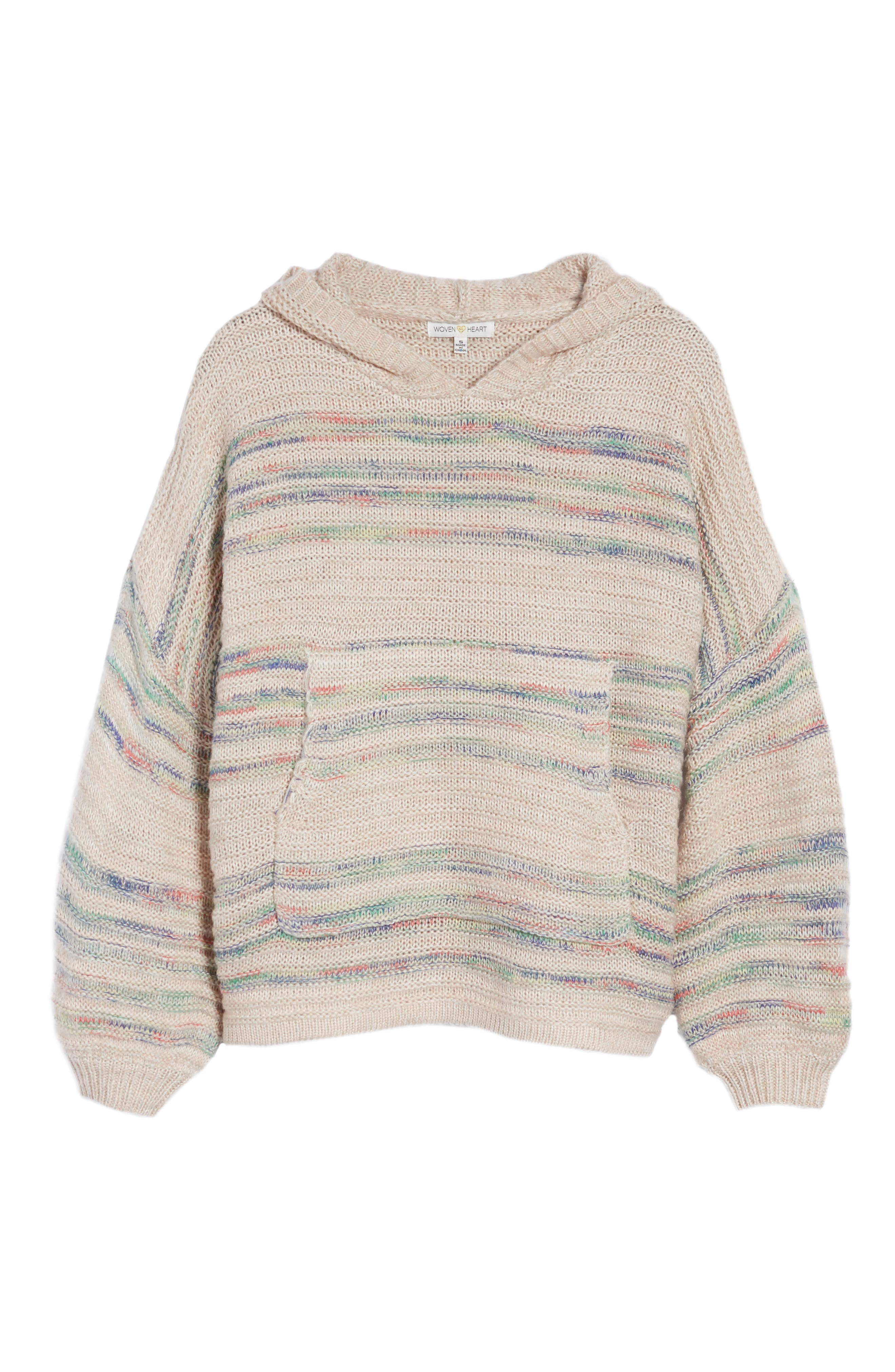 Oversized Sweater Knit Hoodie,                             Alternate thumbnail 6, color,                             Multi Yarn
