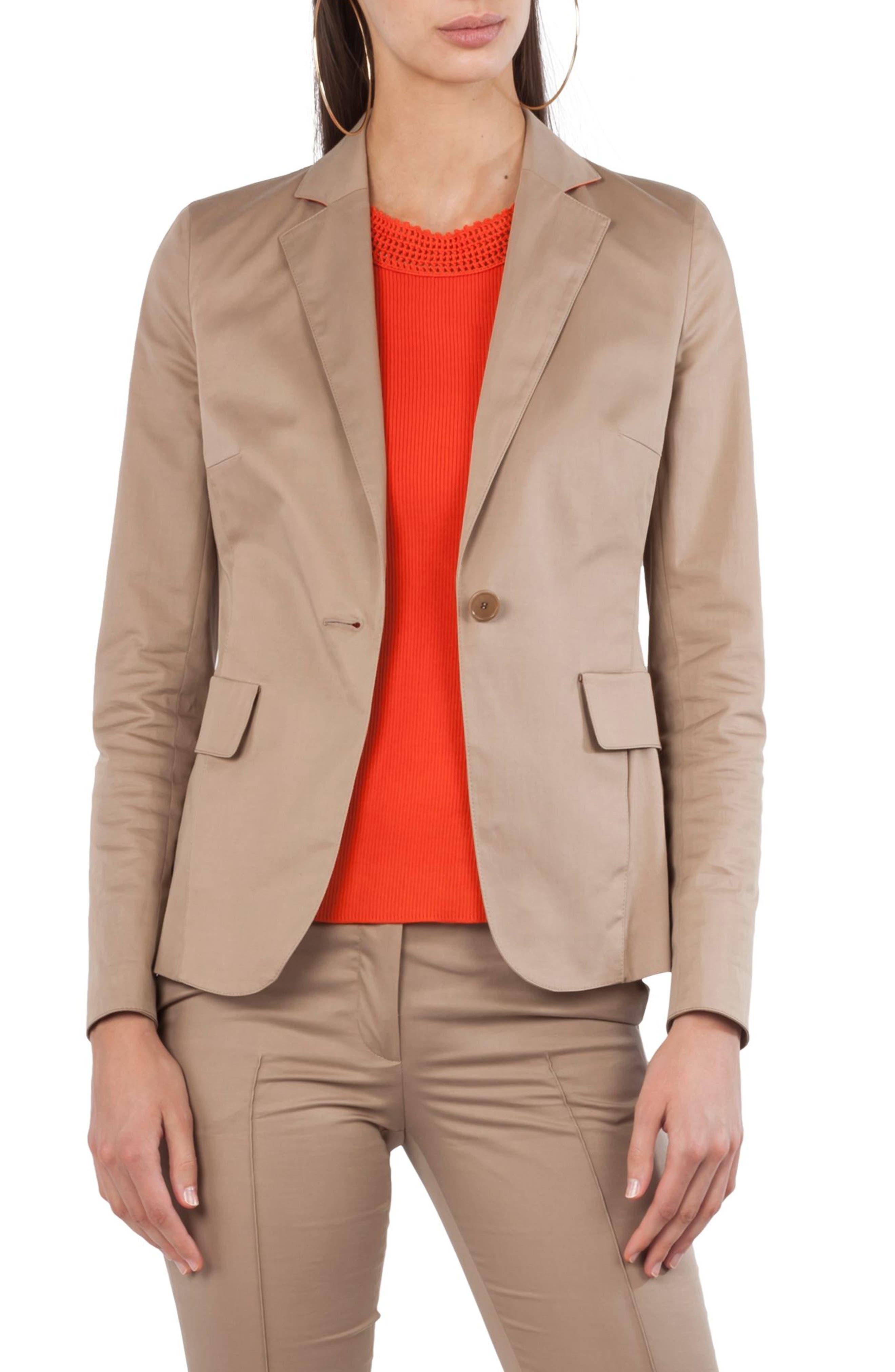 Alternate Image 1 Selected - Akris punto One Button Stretch Cotton Blazer